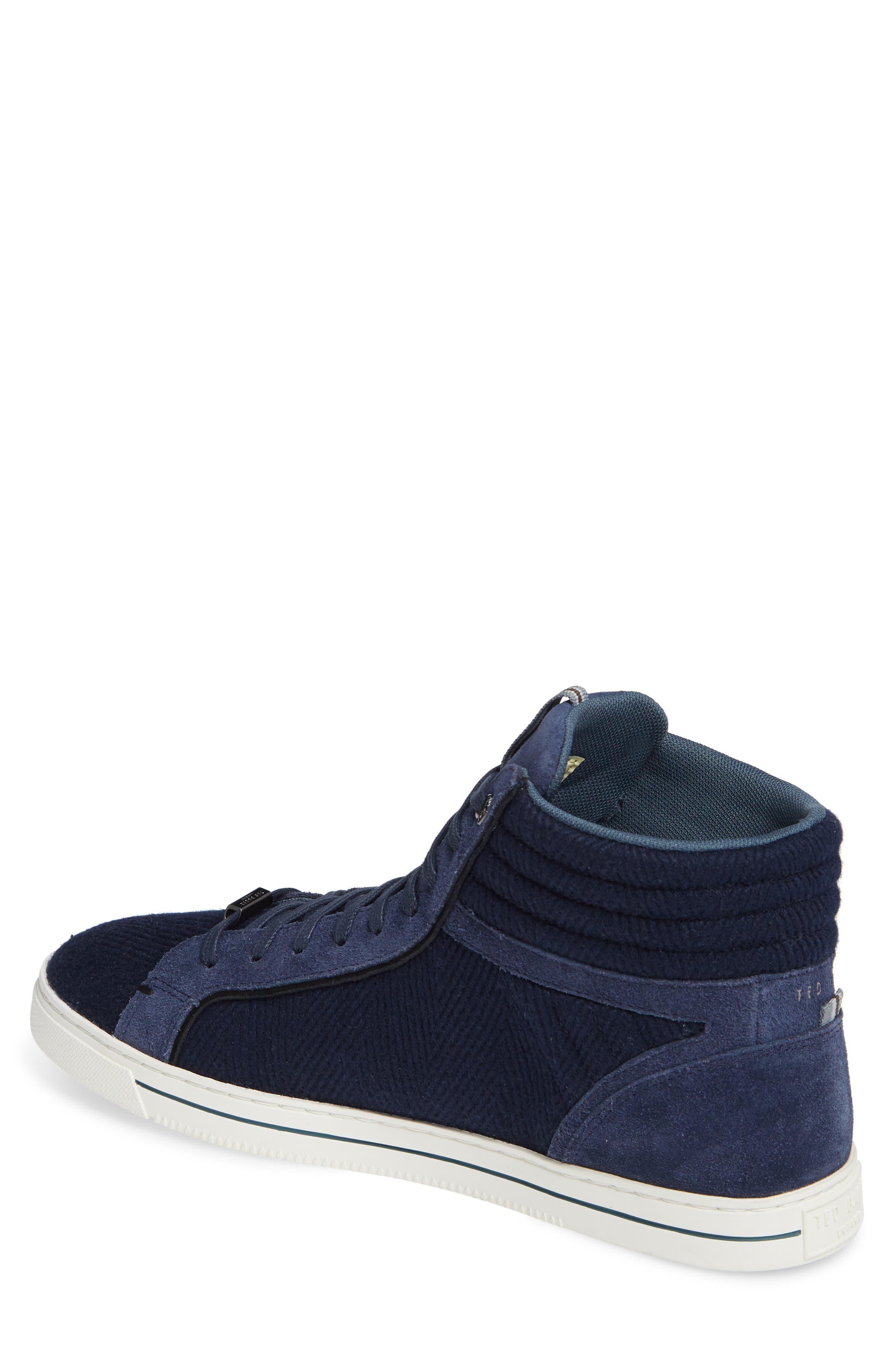 Luckan High Top Sneaker,                             Alternate thumbnail 2, color,                             DARK BLUE FABRIC