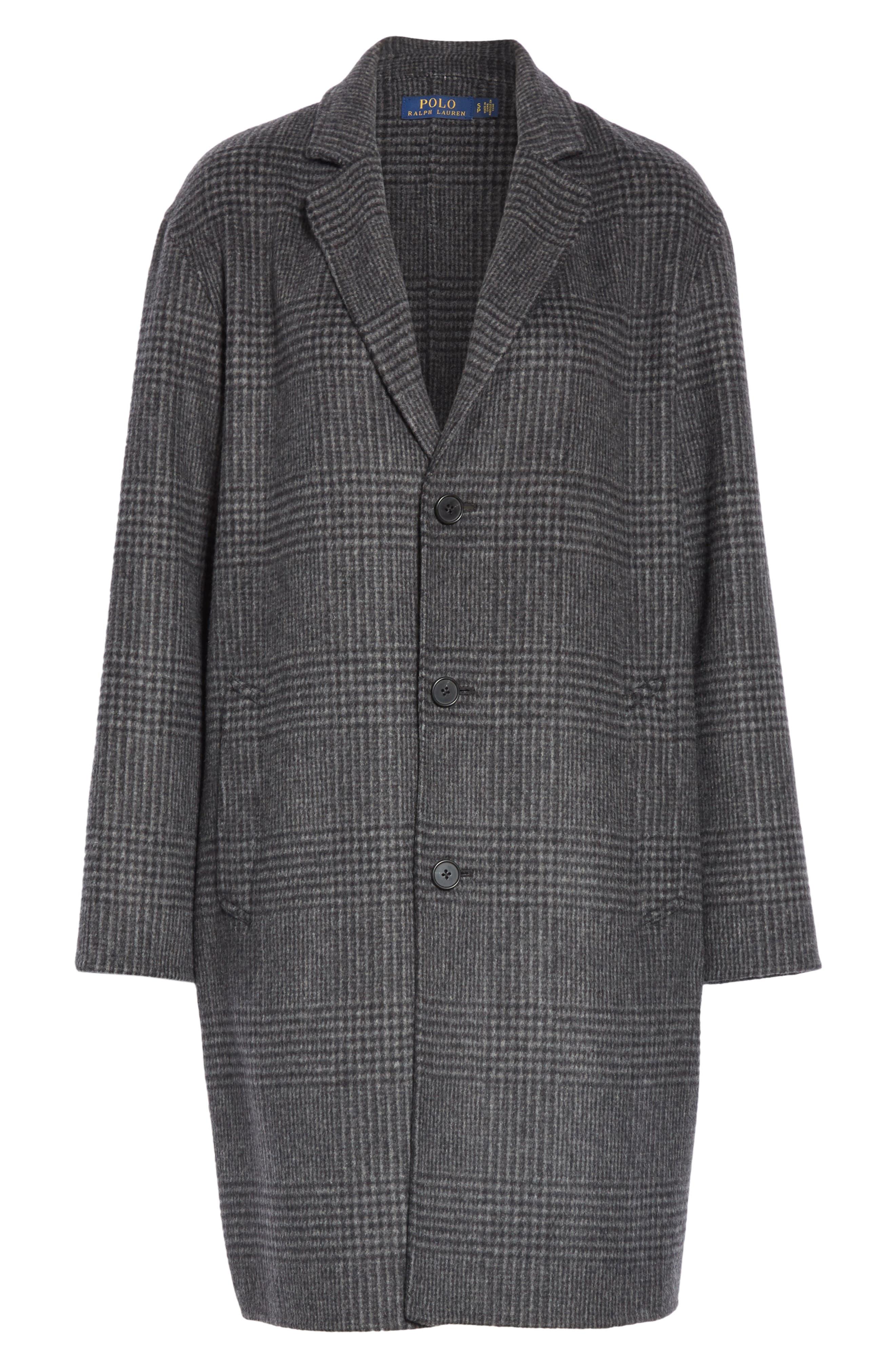 Plaid Wool Blend Coat,                             Alternate thumbnail 5, color,                             CHARCOAL GLEN PLAID