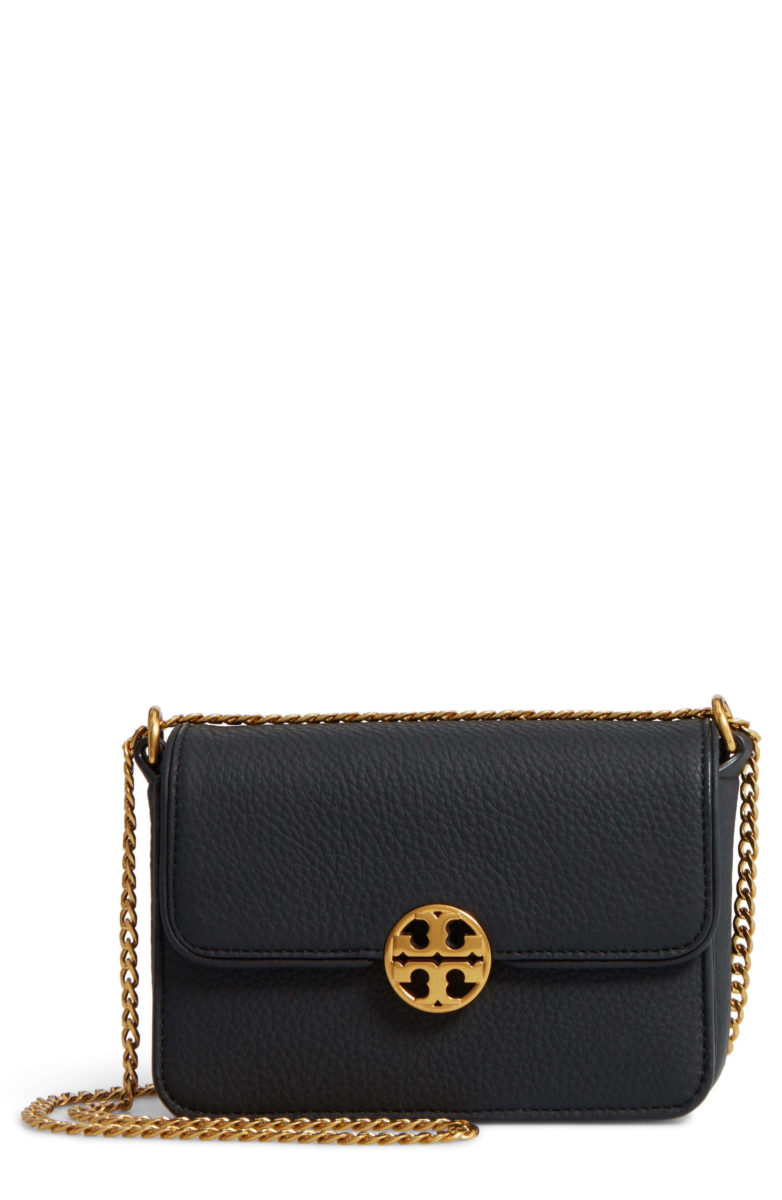 TORY BURCH,                             Mini Chelsea Leather Convertible Crossbody Bag,                             Main thumbnail 1, color,                             001