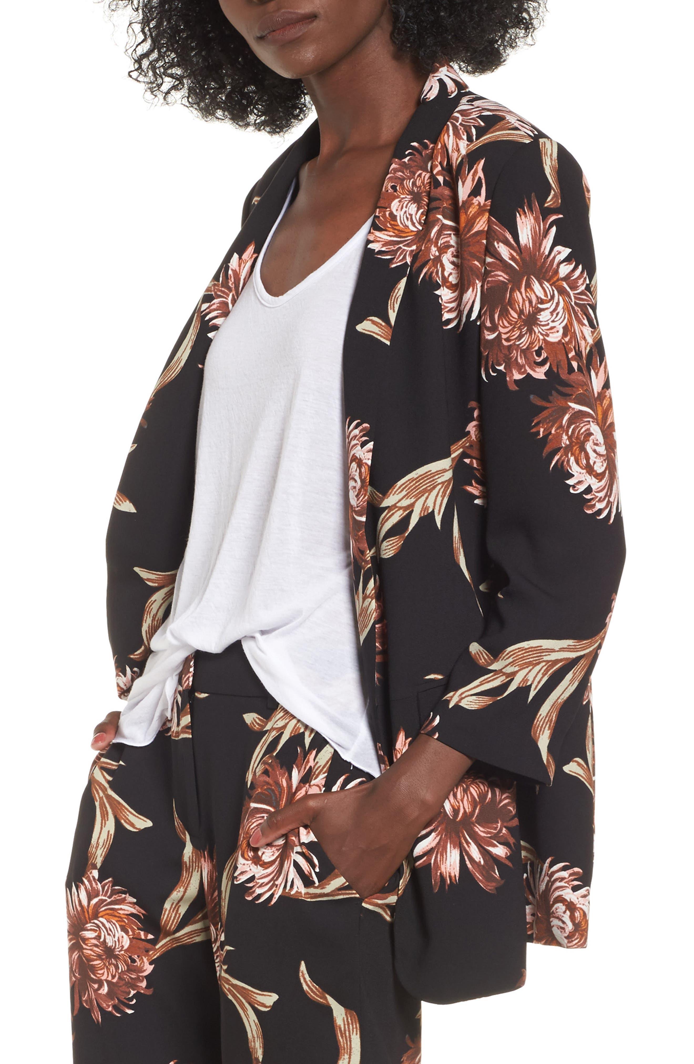 Floral Print Blazer,                         Main,                         color, 001