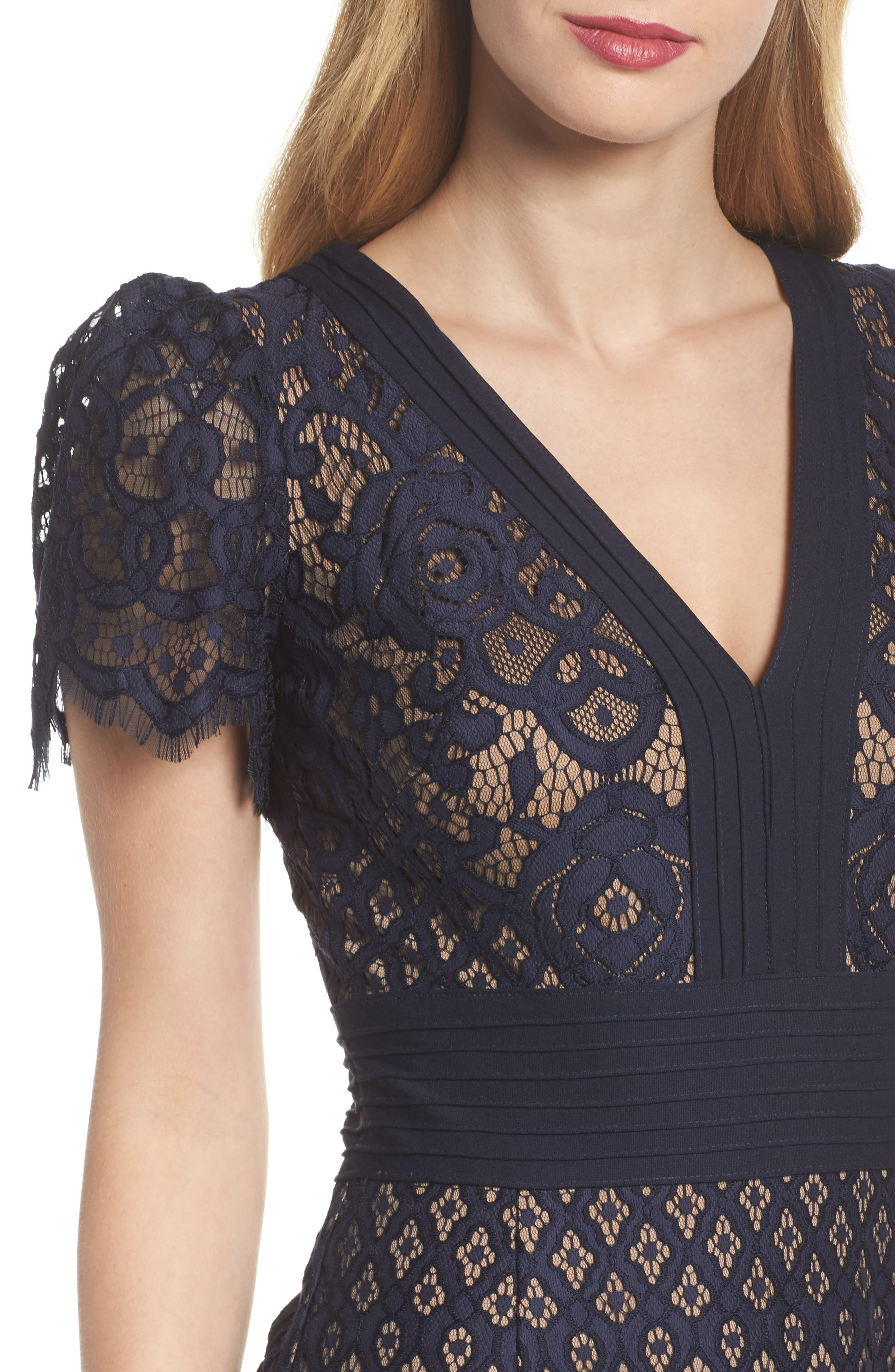 Pintuck Detail Lace Gown,                             Alternate thumbnail 4, color,                             408