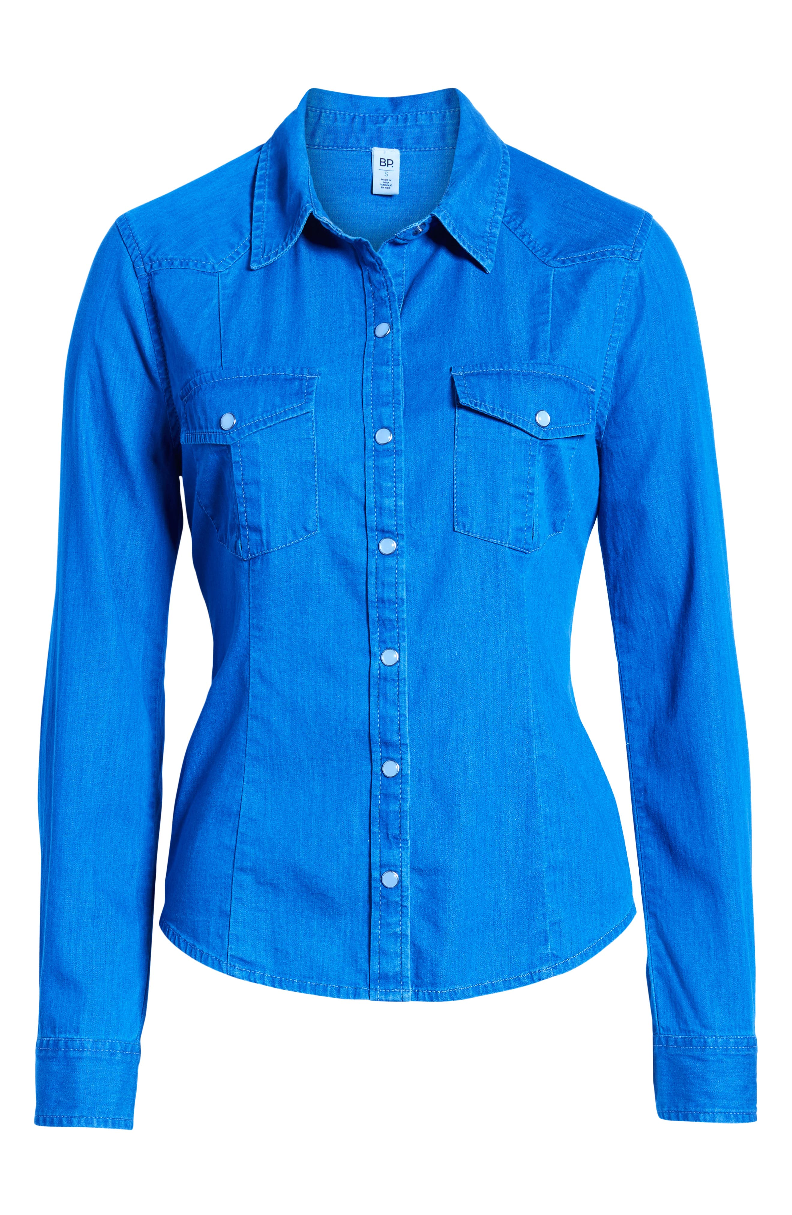 Fitted Chambray Shirt,                             Alternate thumbnail 7, color,                             ROBIN INDIGO