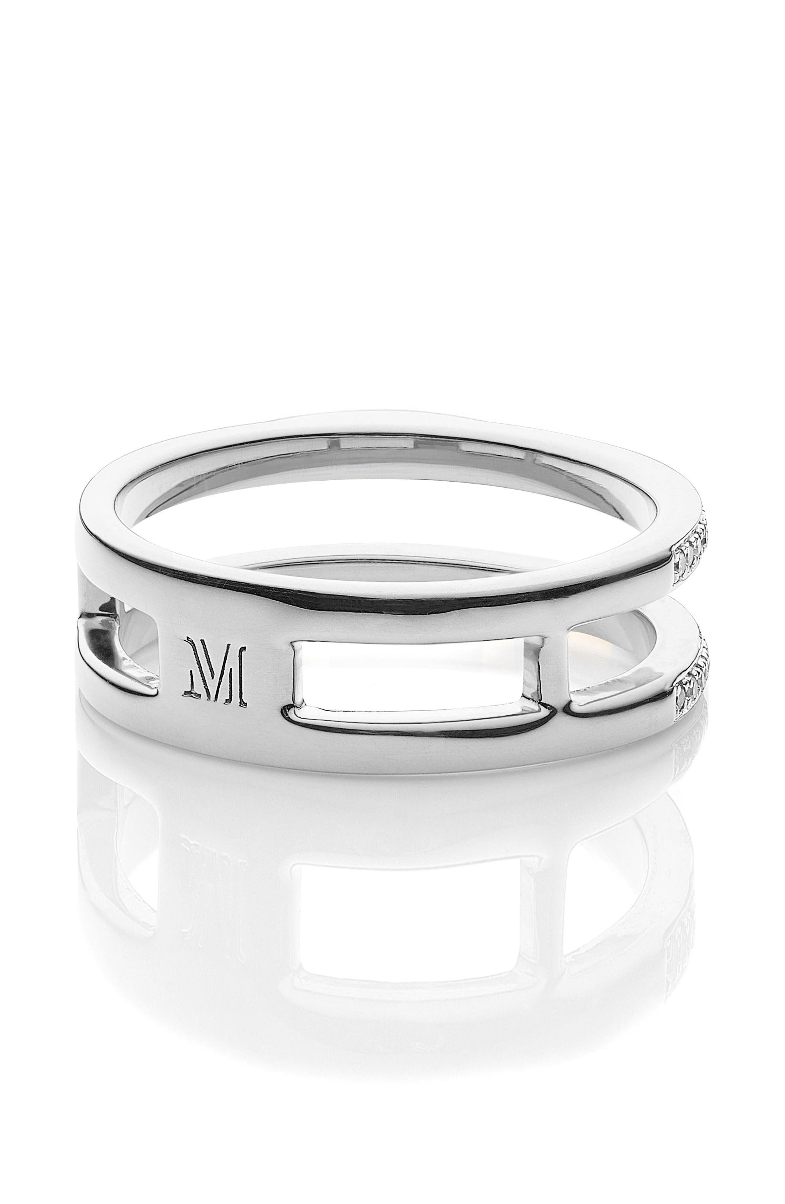 Skinny Double Band Diamond Ring,                             Alternate thumbnail 3, color,                             SILVER