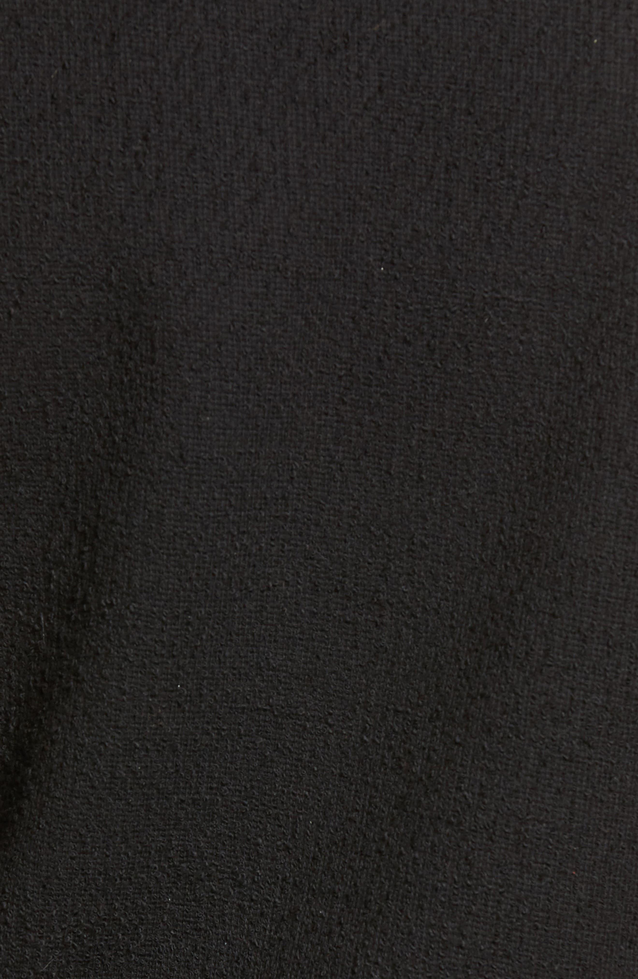 Textured Tie Front Top,                             Alternate thumbnail 5, color,                             TRUE BLACK