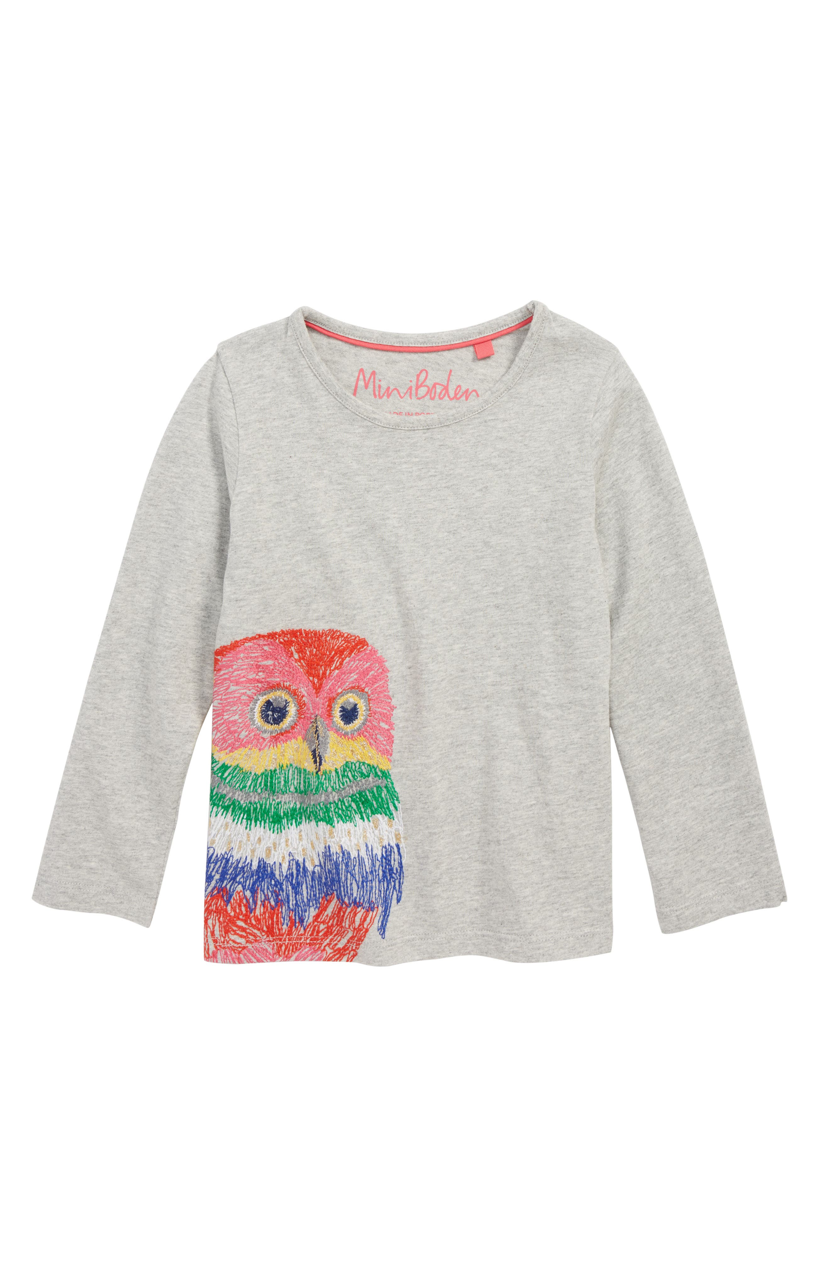 Superstitch Appliqué Tee,                             Main thumbnail 1, color,                             GREY MARLE OWL
