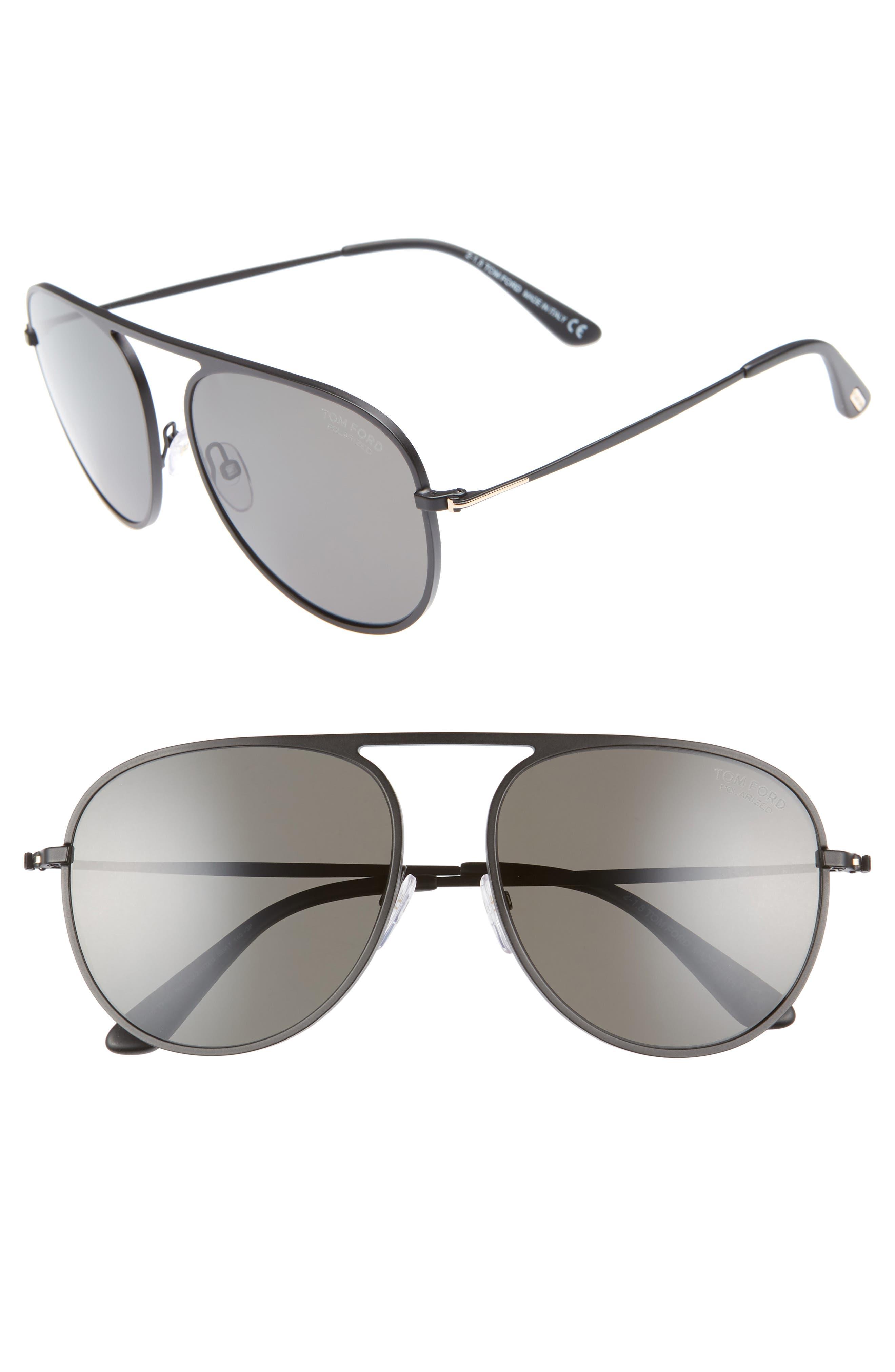 59mm Aviator Sunglasses,                         Main,                         color, BLACK MATTE FRAME/ BLACK
