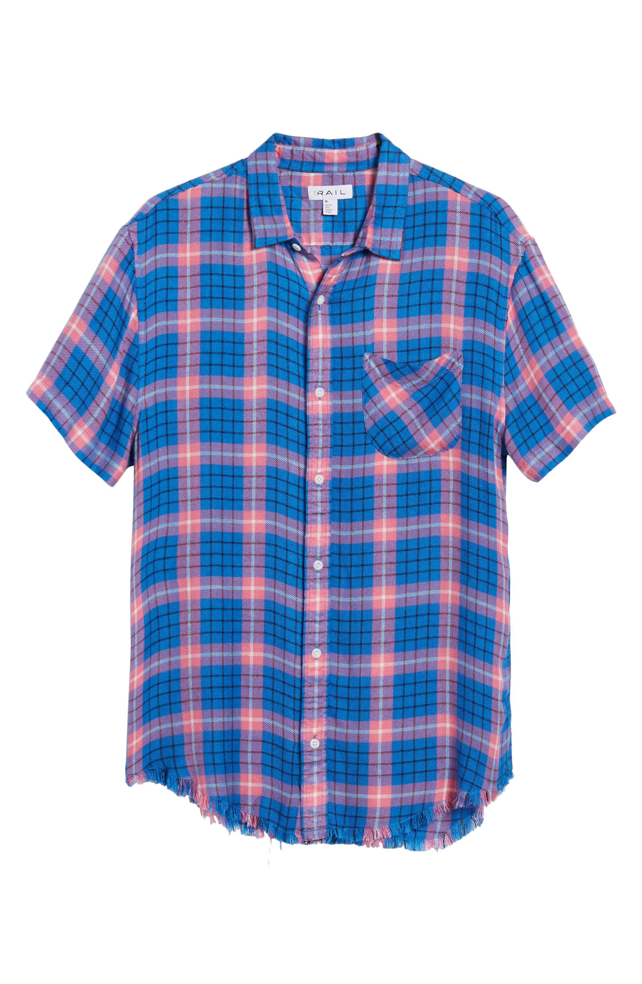 Flannel Woven Shirt,                             Alternate thumbnail 6, color,                             BLUE CAMP PINK BECK PLAID