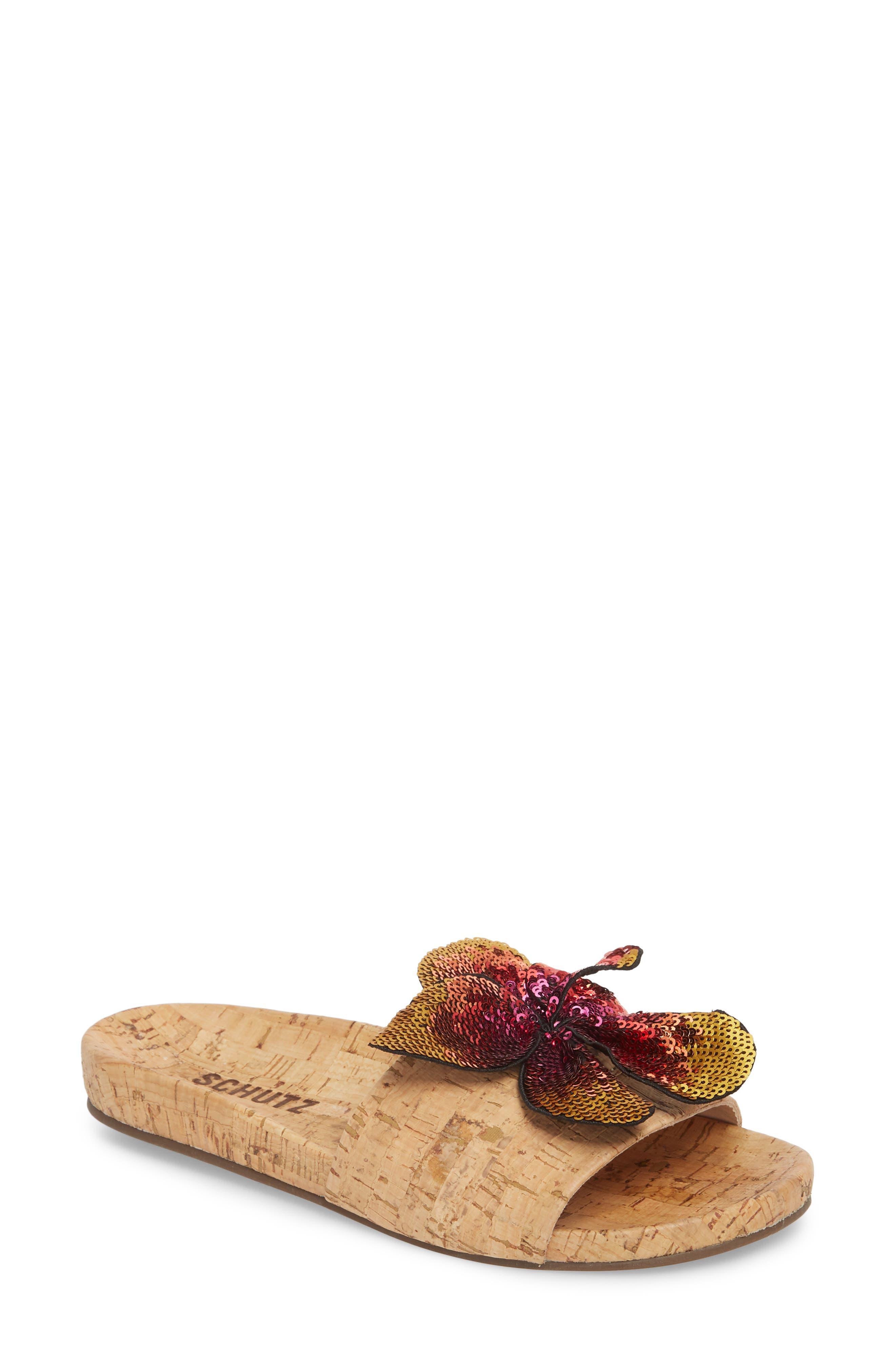 Schutz Geisa Sequin Flower Slide Sandal, Beige