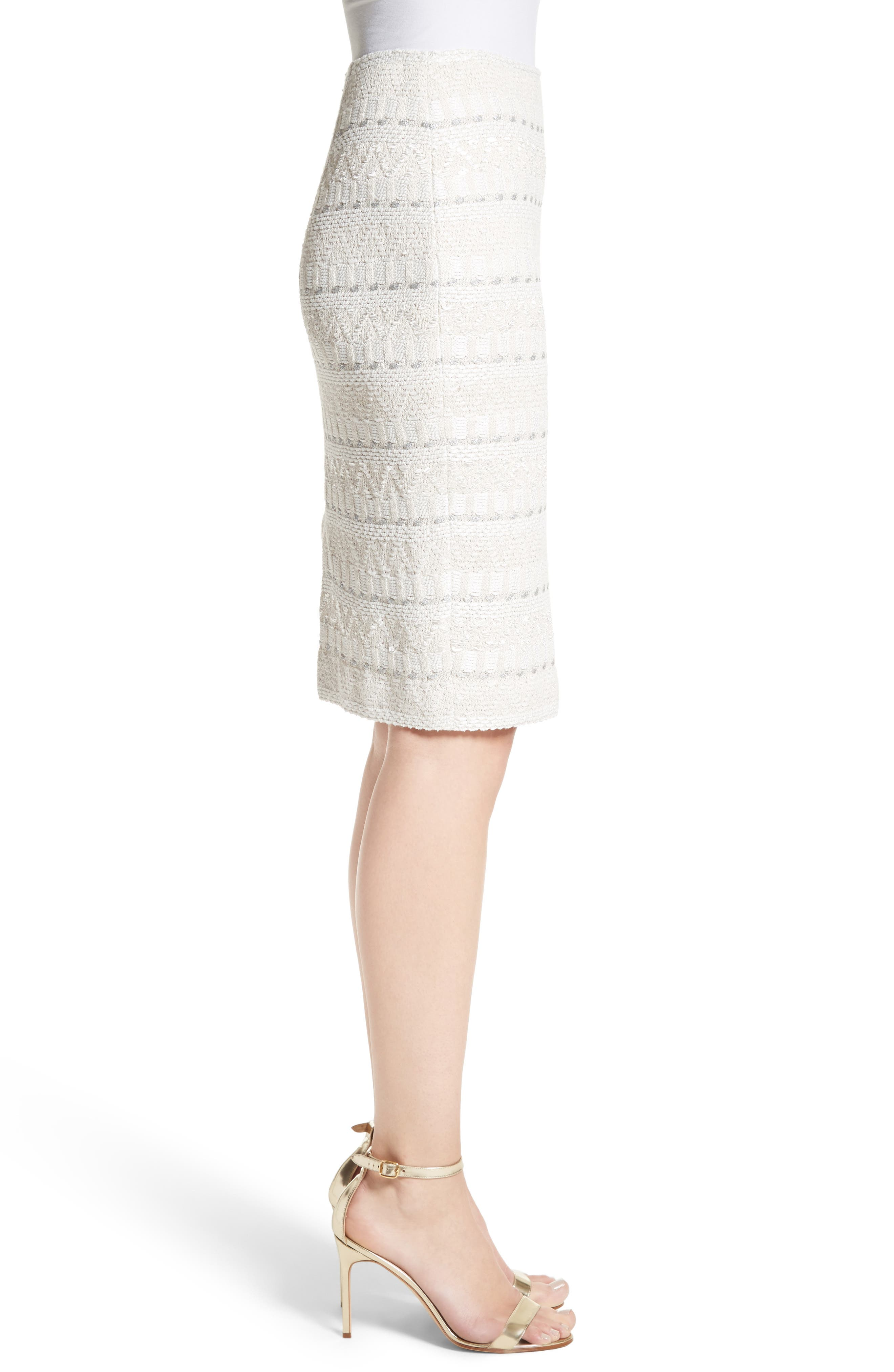 Samar Knit Tweed Pencil Skirt,                             Alternate thumbnail 3, color,                             100