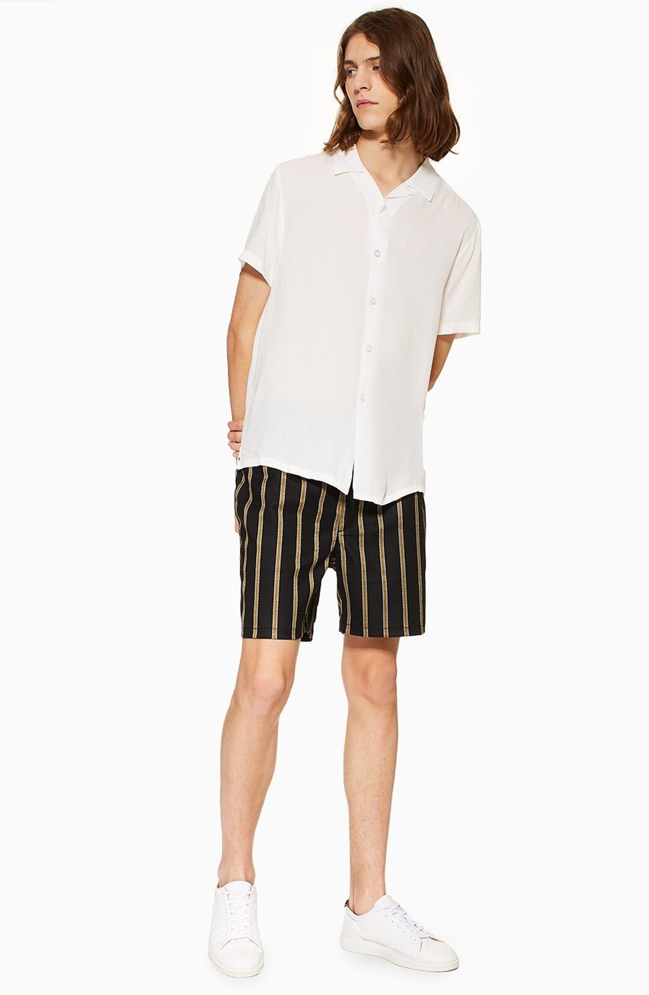 Striped Swim Shorts,                             Alternate thumbnail 5, color,                             BLACK MULTI