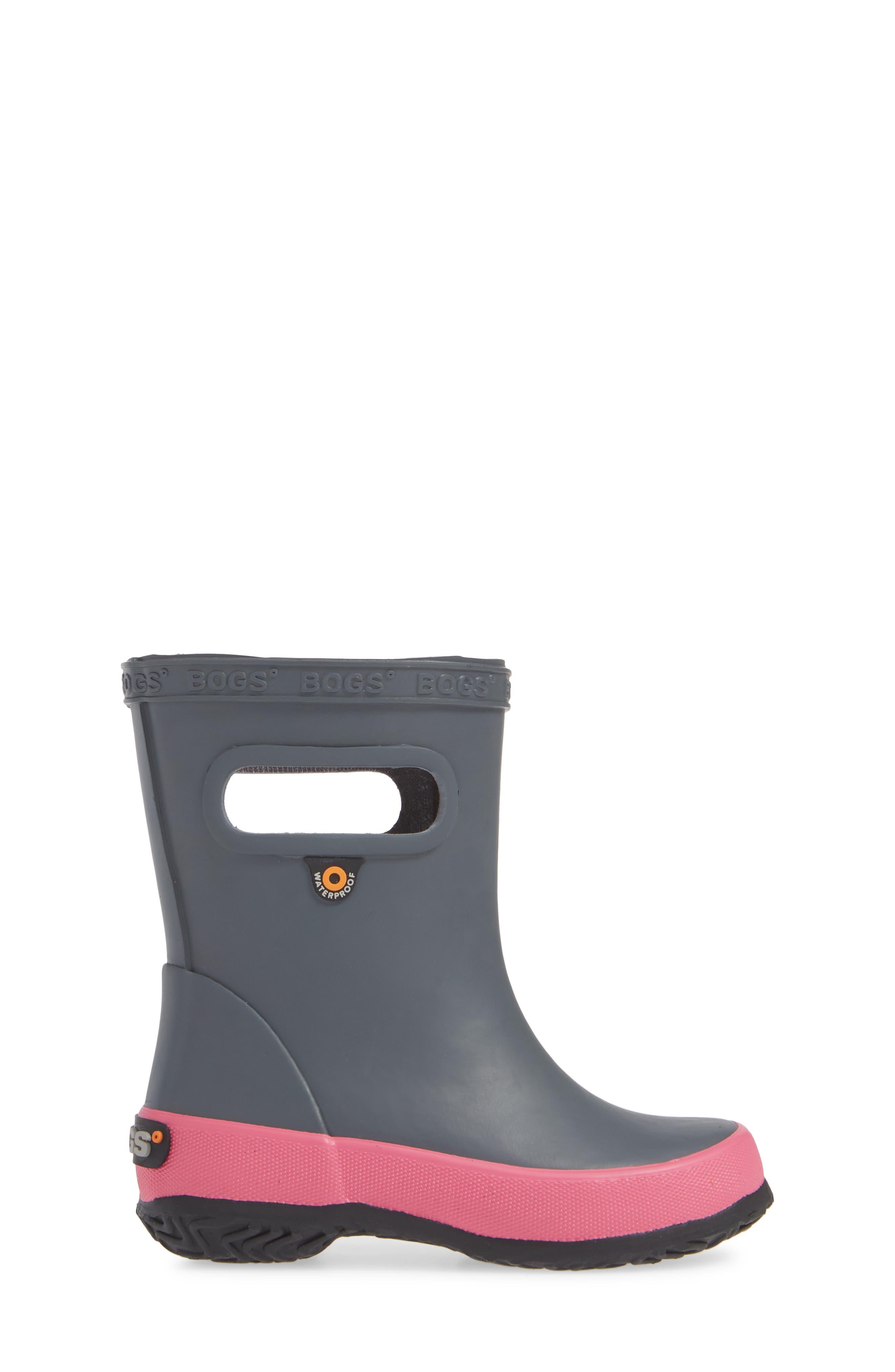 Skipper Solid Rubber Rain Boot,                             Alternate thumbnail 3, color,                             DARK GRAY