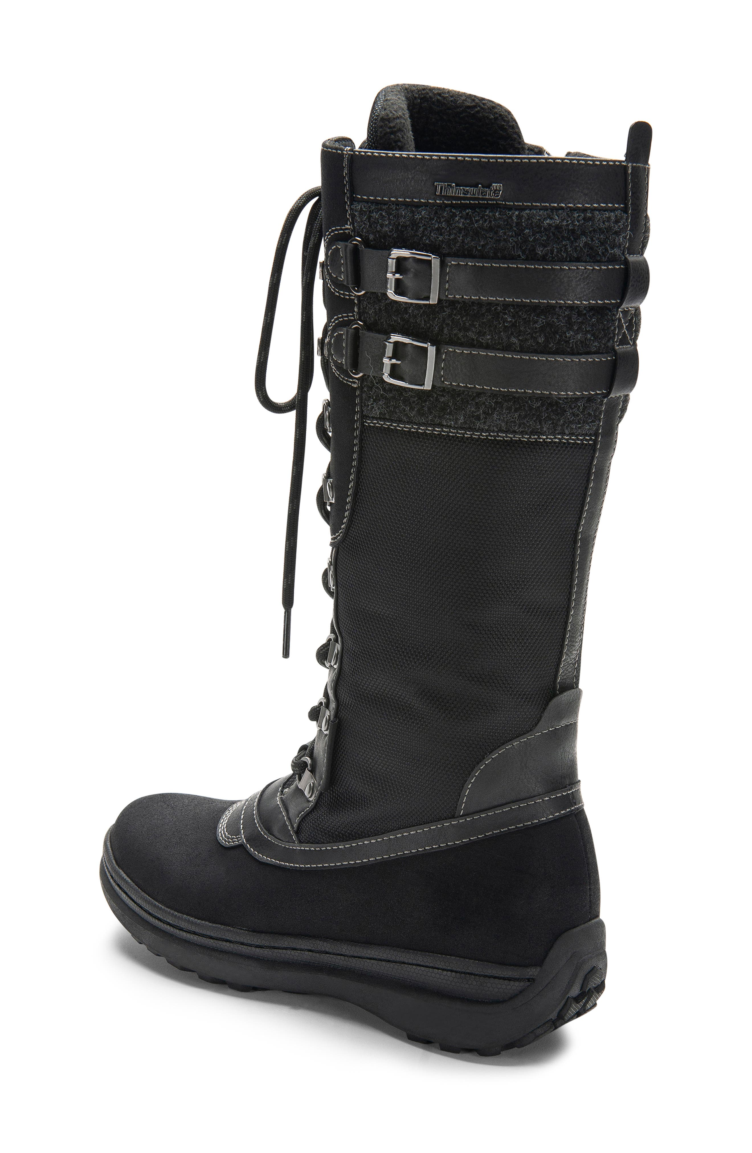 India Waterproof Snow Boot,                             Alternate thumbnail 9, color,                             BLACK LEATHER