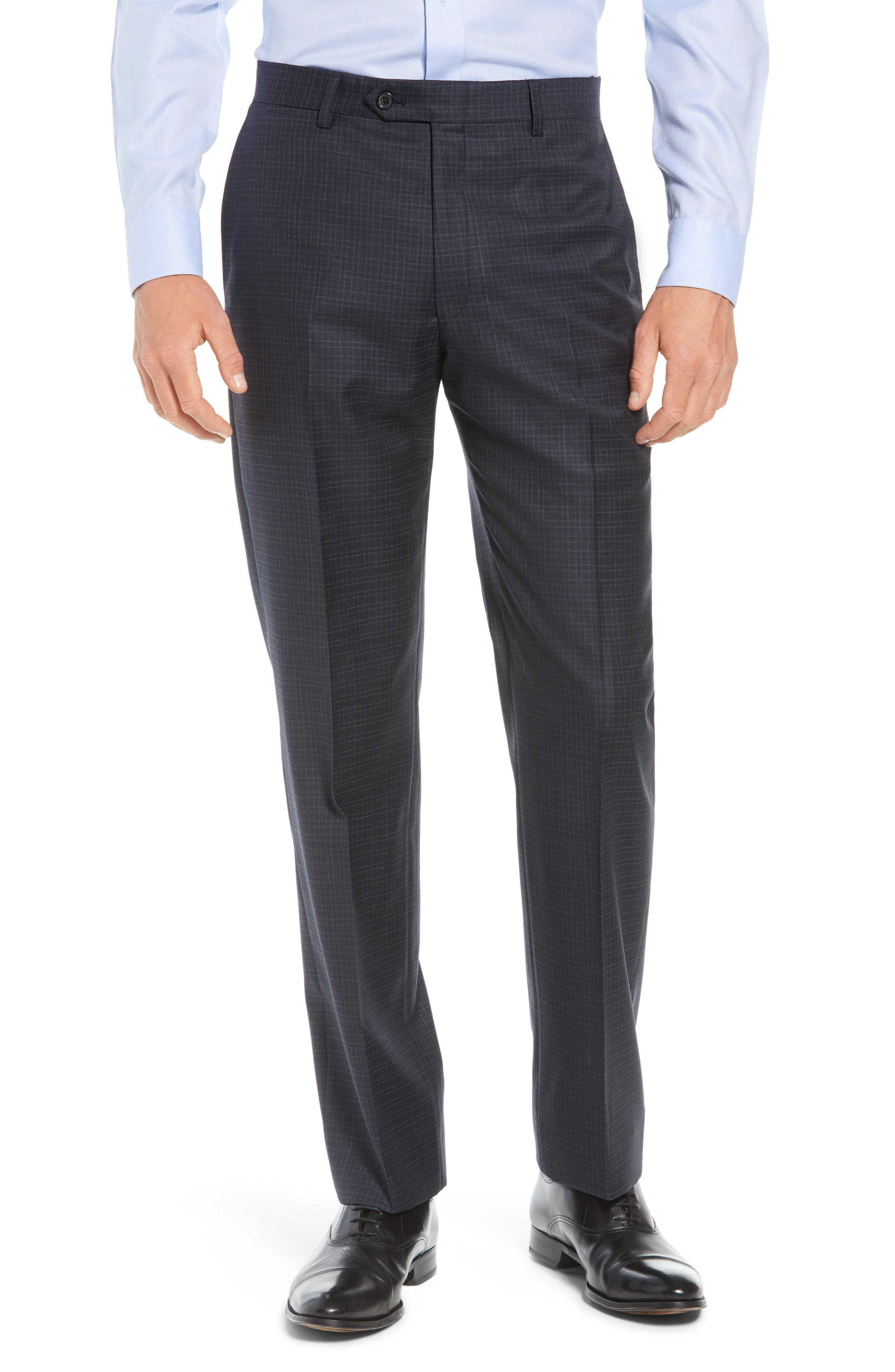 New York Classic Fit Check Wool Suit,                             Alternate thumbnail 6, color,                             NAVY