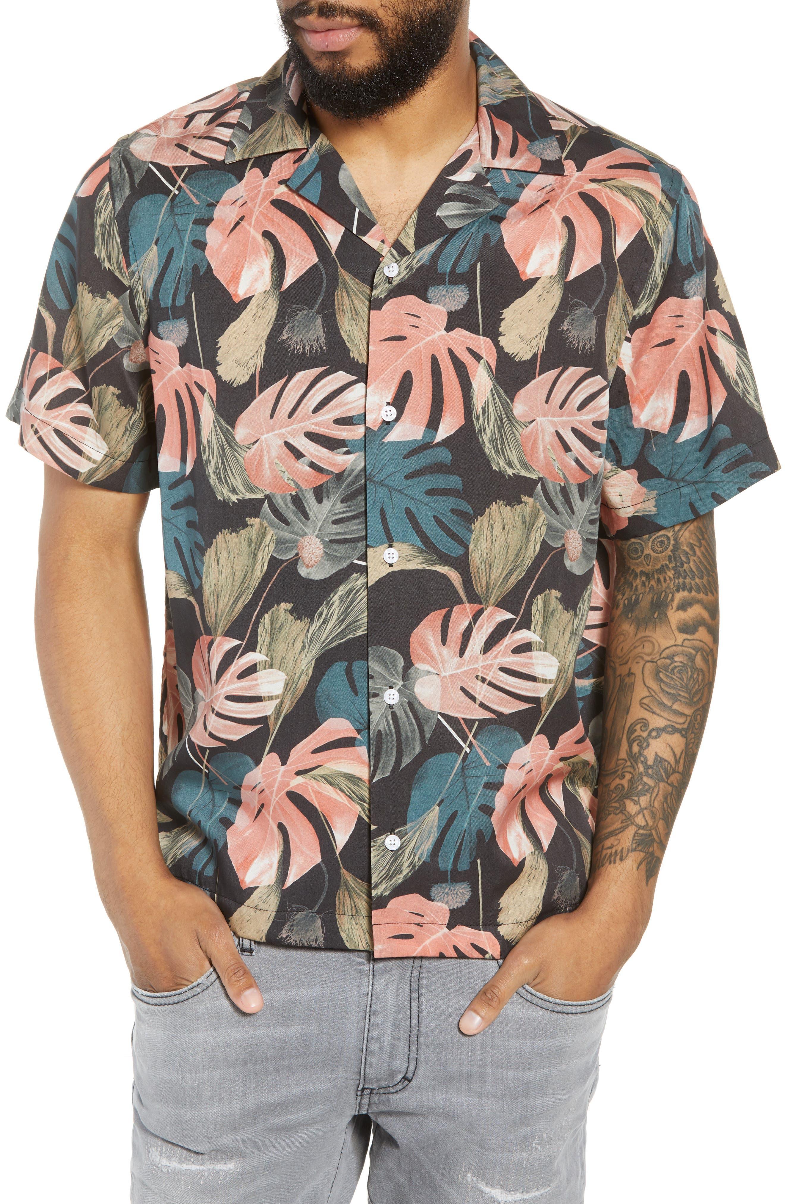 Canty Monstera Camp Shirt,                         Main,                         color, 001