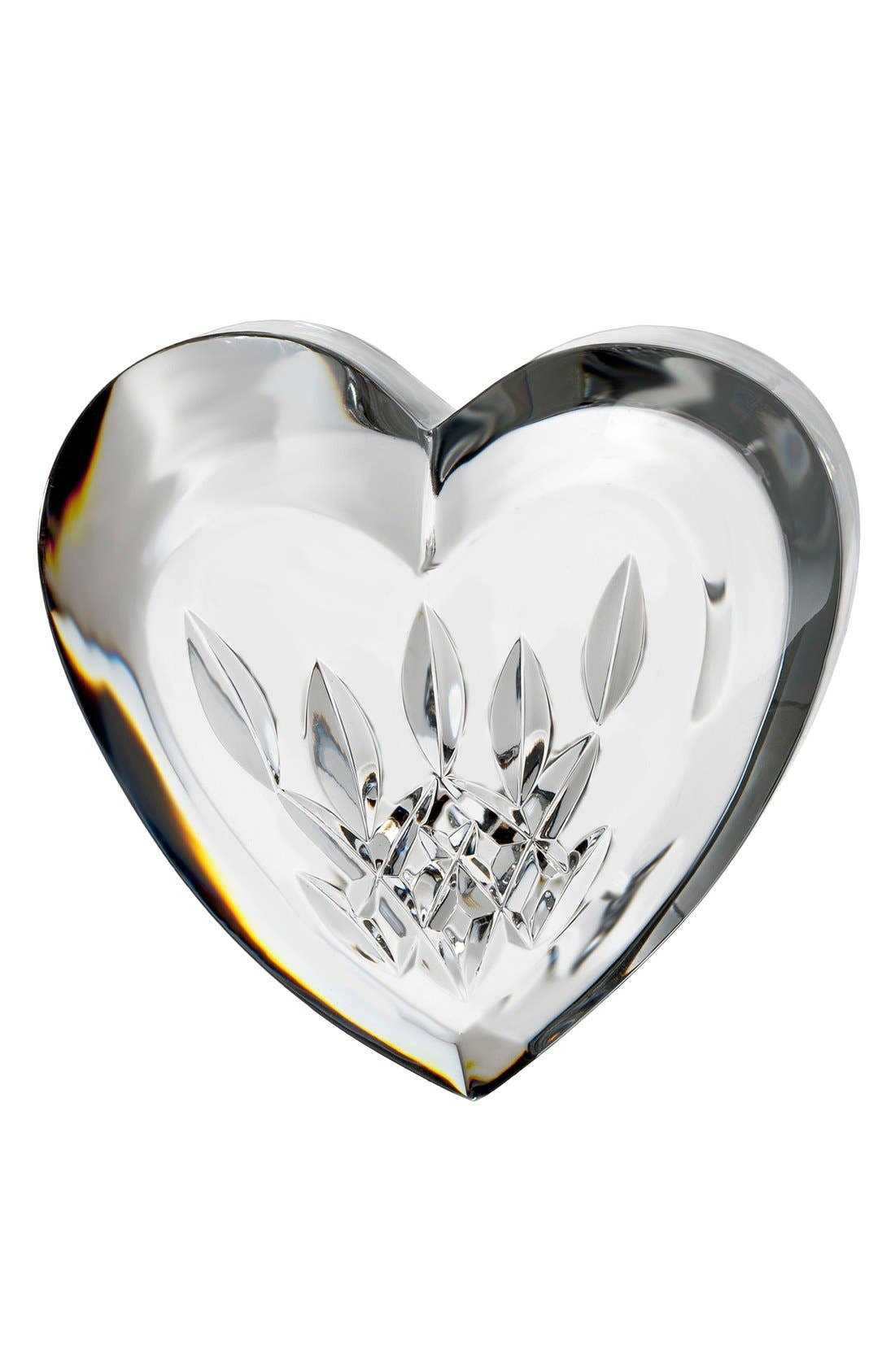 'Lismore' Heart Lead Crystal Paperweight,                             Main thumbnail 1, color,                             100