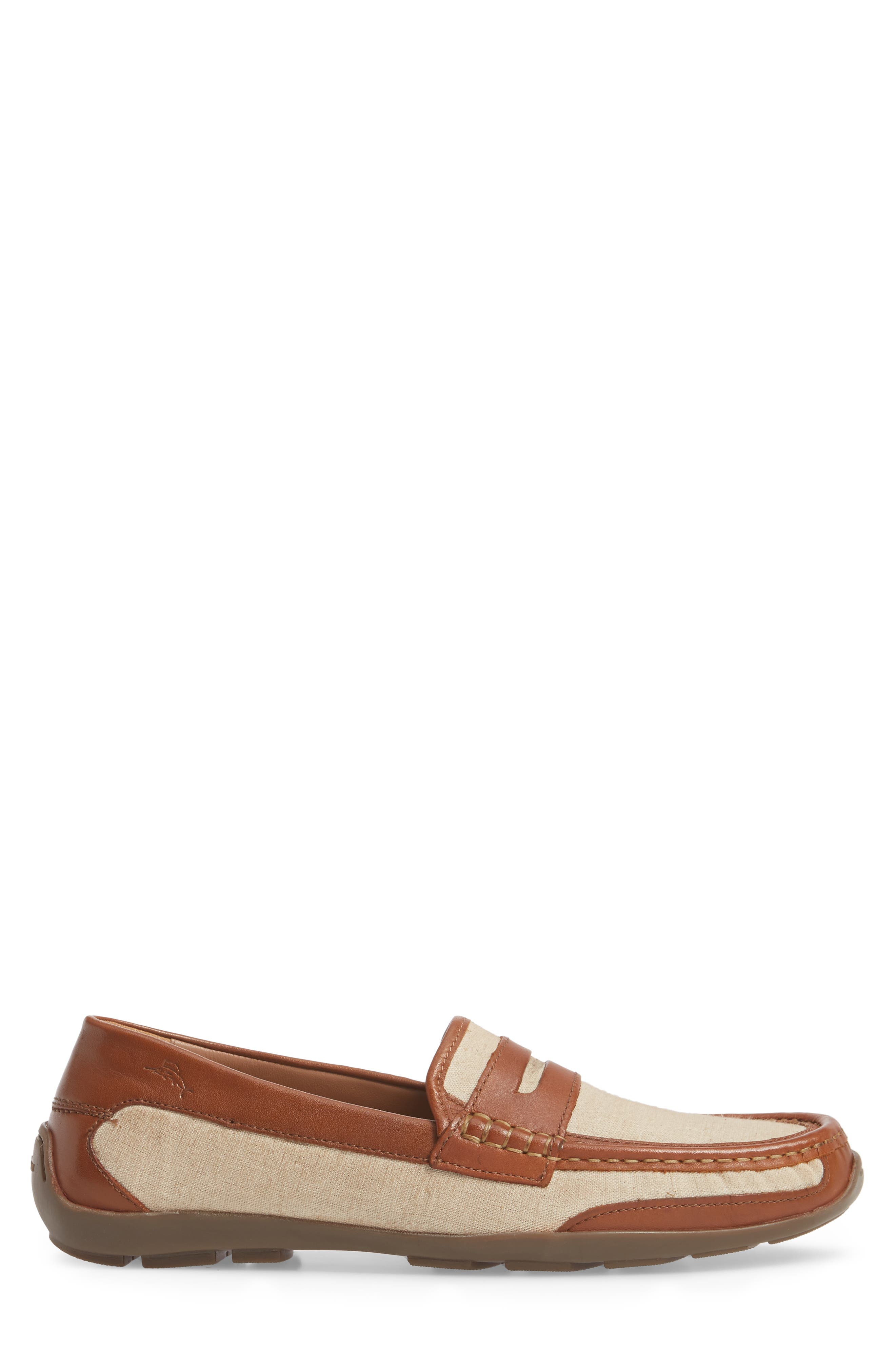 Taza Fronds Driving Shoe,                             Alternate thumbnail 3, color,                             BROWN/ NATURAL LEATHER/ LINEN
