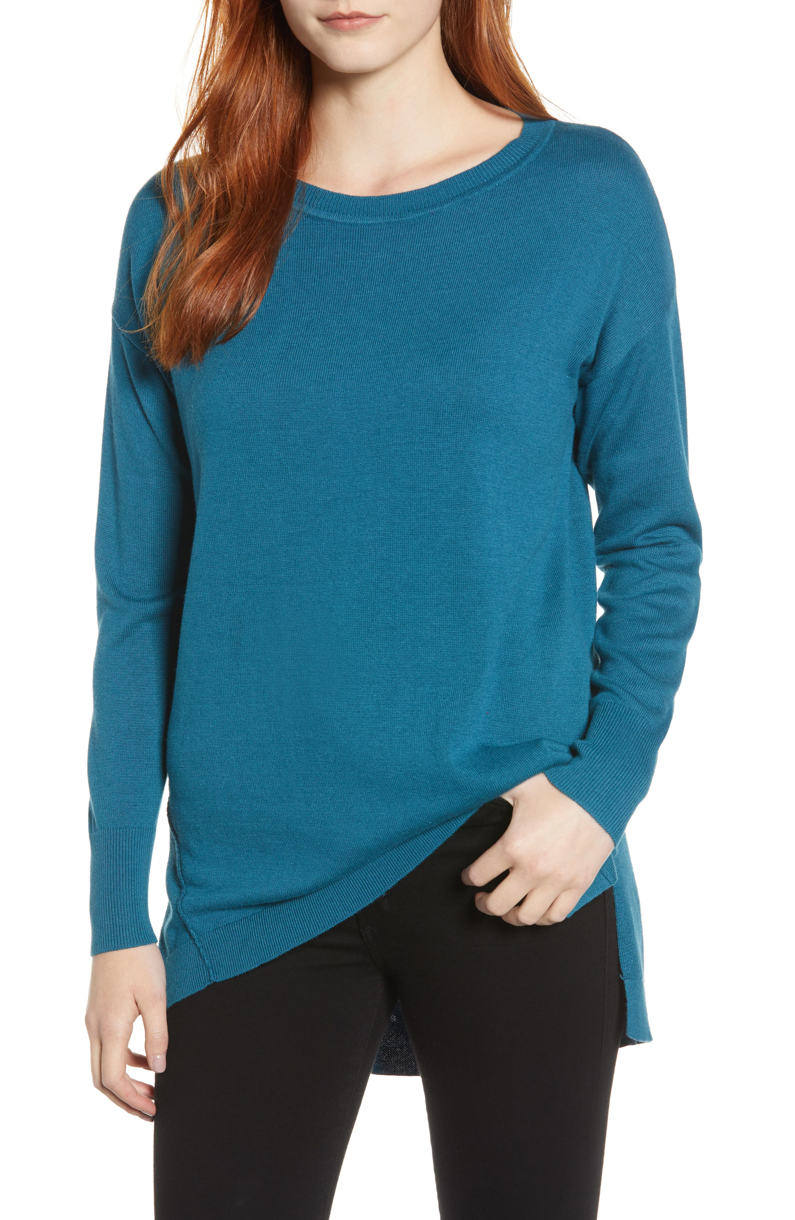 Zip Back High/Low Tunic Sweater,                             Main thumbnail 1, color,                             TEAL CORAL