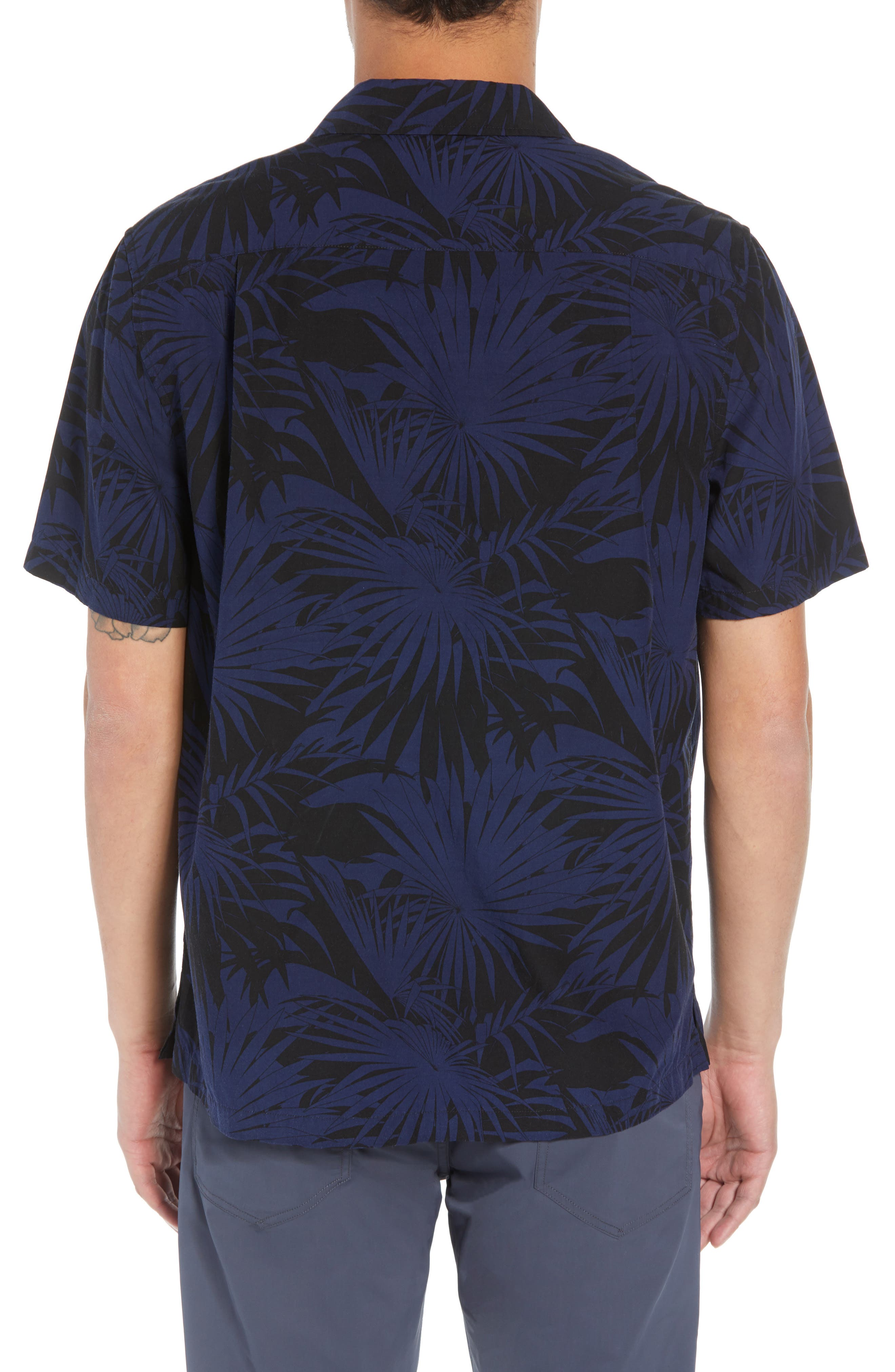 Palm Leaf Cabana Woven Shirt,                             Alternate thumbnail 3, color,                             001