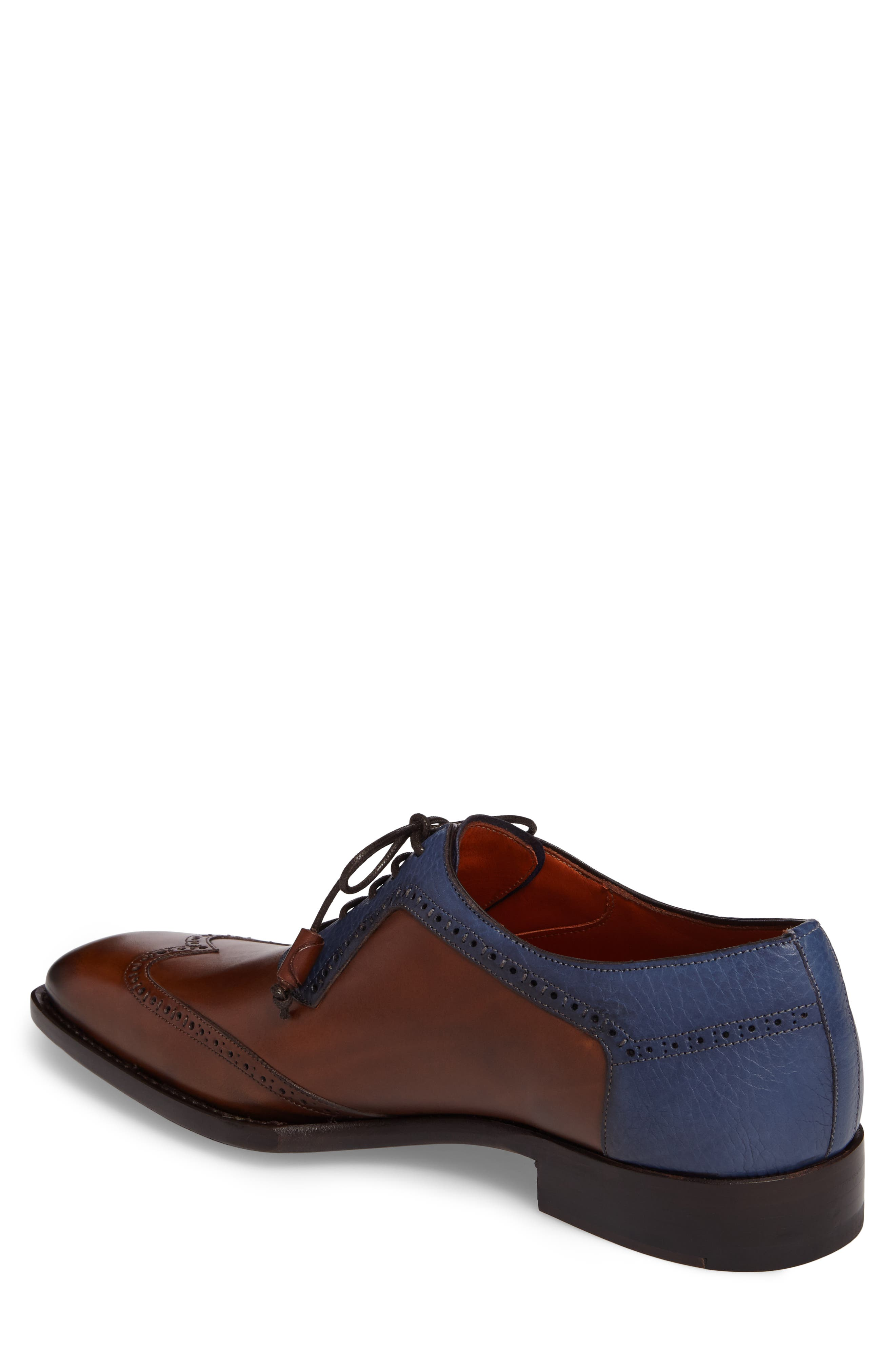 Conil Wingtip,                             Alternate thumbnail 2, color,                             COGNAC/ BLUE LEATHER