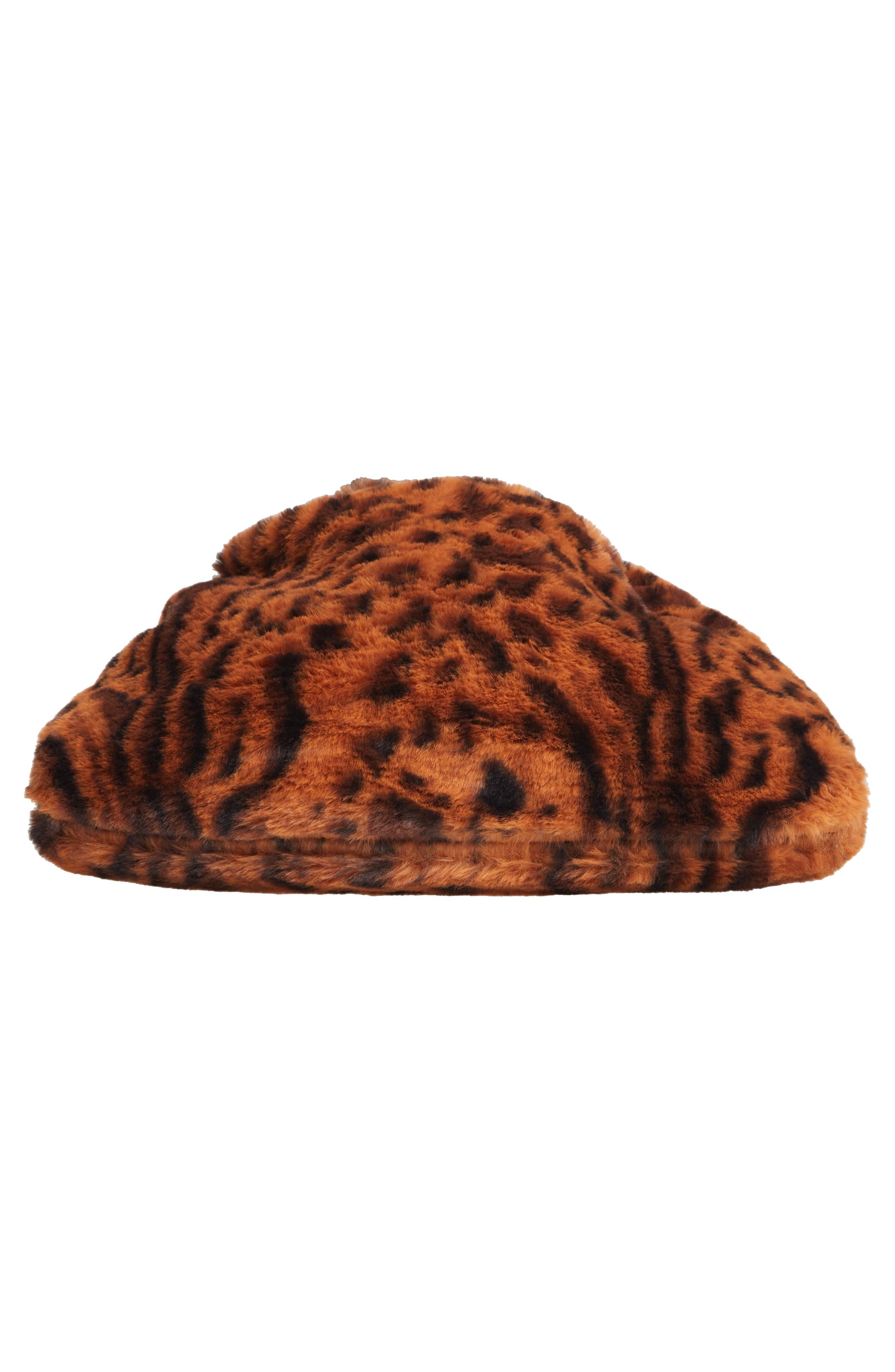 Ring Handle Faux Fur Bag,                             Alternate thumbnail 6, color,                             LEOPARD