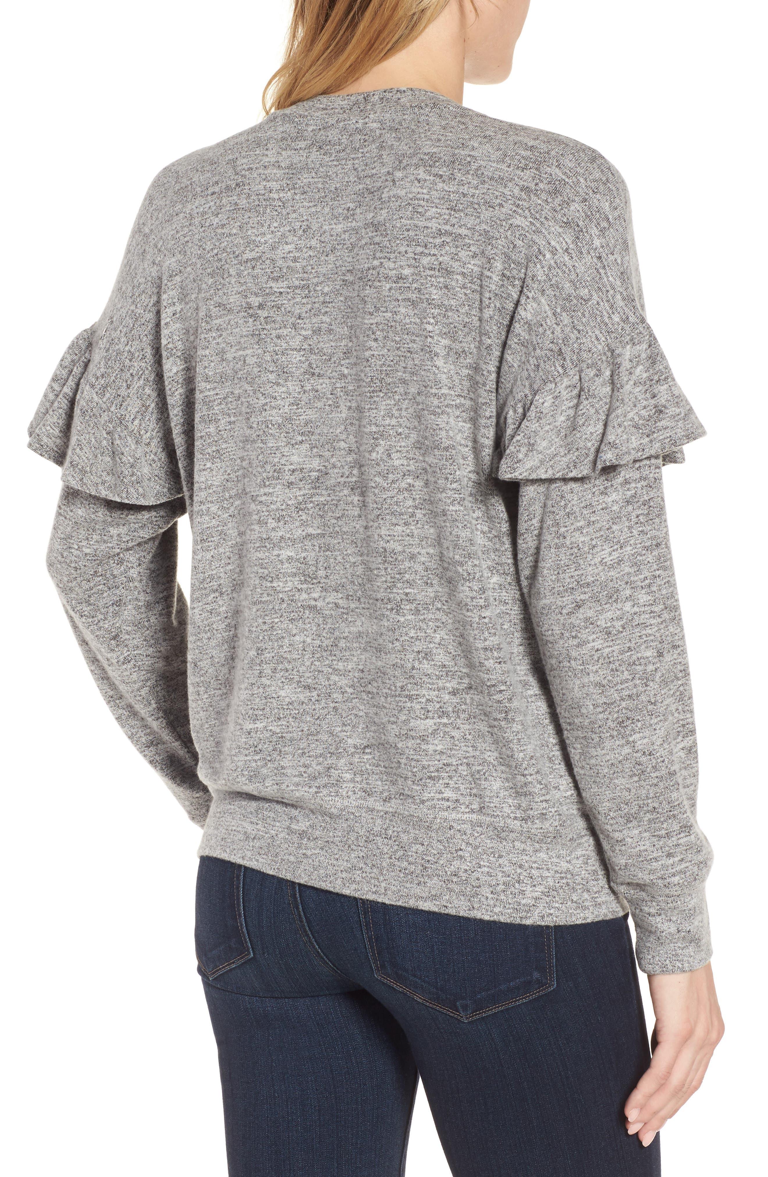 Ruffle Sleeve Sweatshirt,                             Alternate thumbnail 2, color,                             100