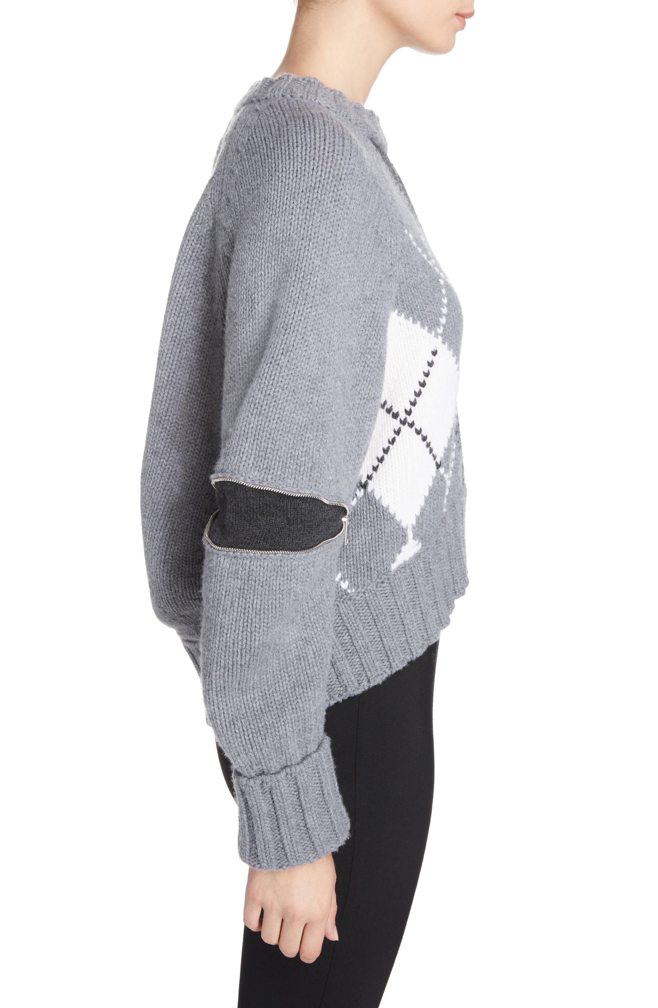 Zip Sleeve Wool Argyle Sweater,                             Alternate thumbnail 3, color,                             027