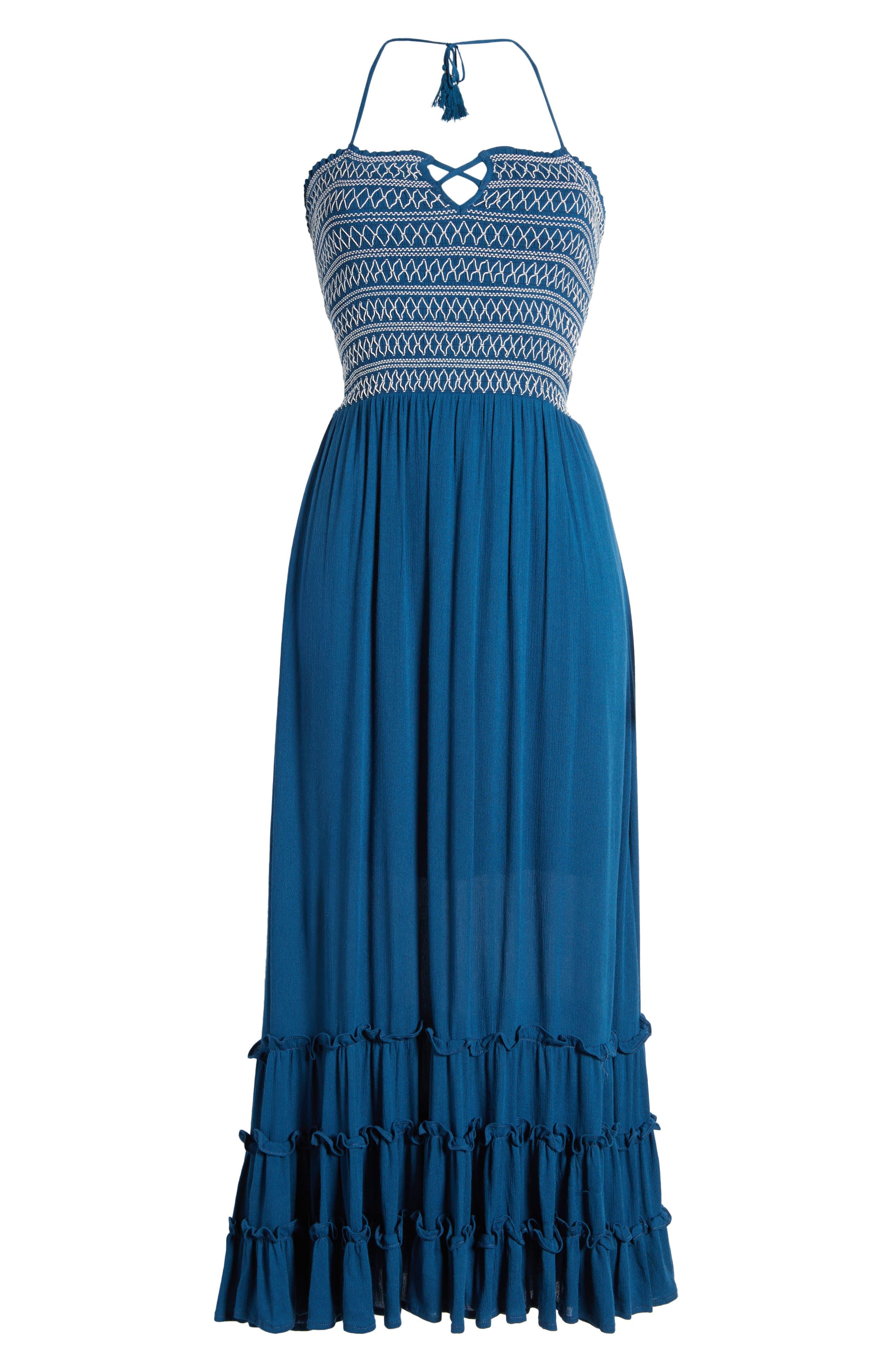 Sailor Smocked Maxi Dress,                             Alternate thumbnail 6, color,                             410