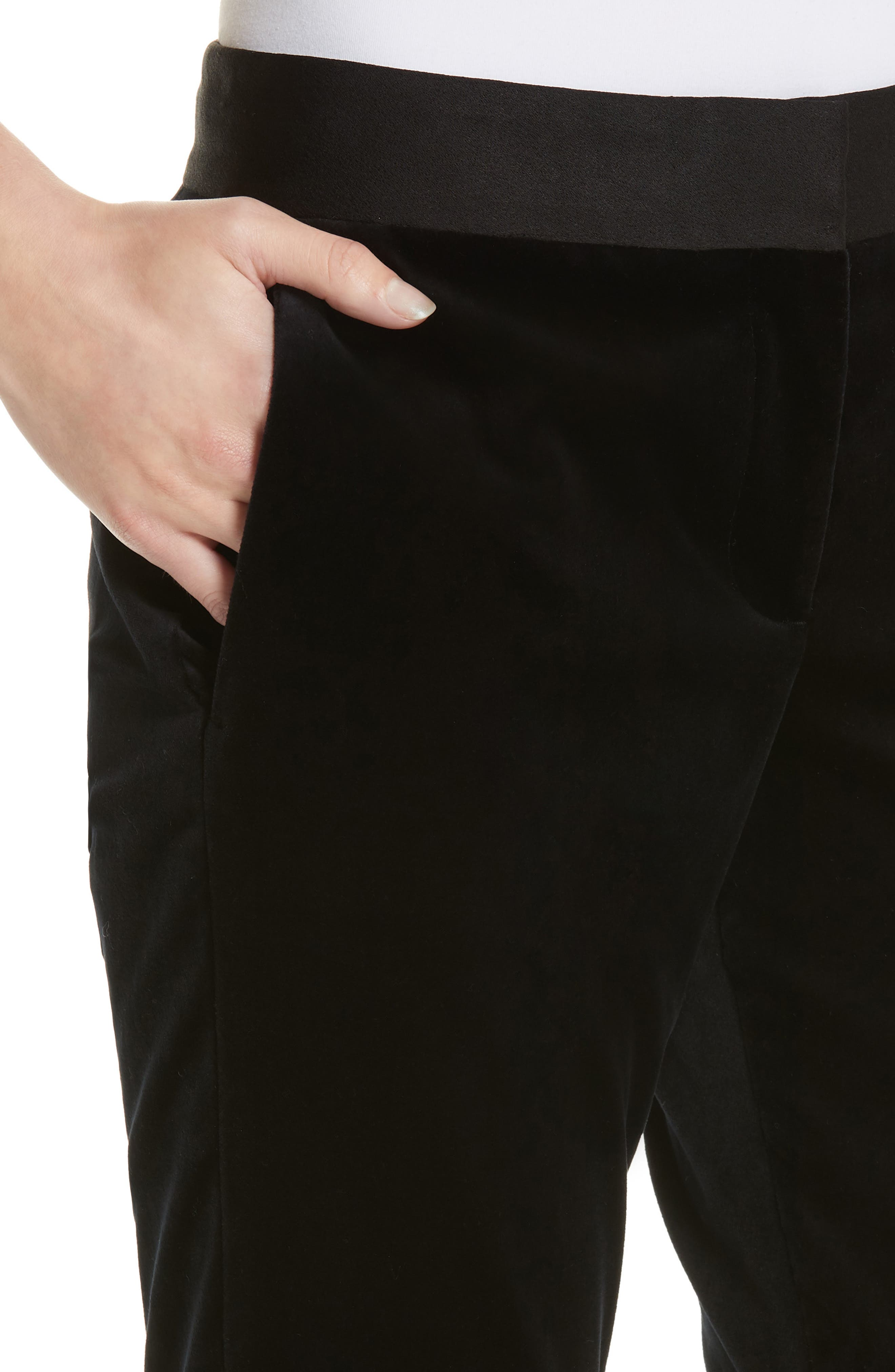 Stretch Cotton Velvet Trousers,                             Alternate thumbnail 4, color,                             001