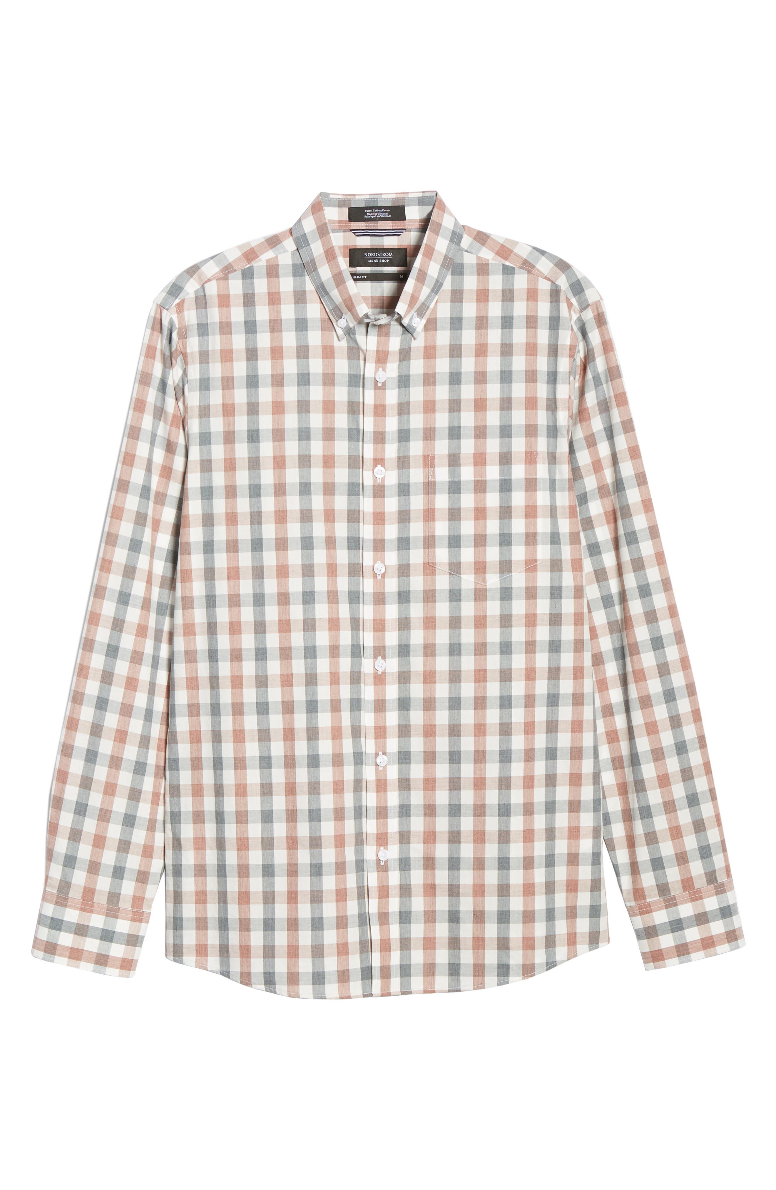 Check Sport Shirt,                             Alternate thumbnail 5, color,                             GREY RED WHITE MELANGE CHECK