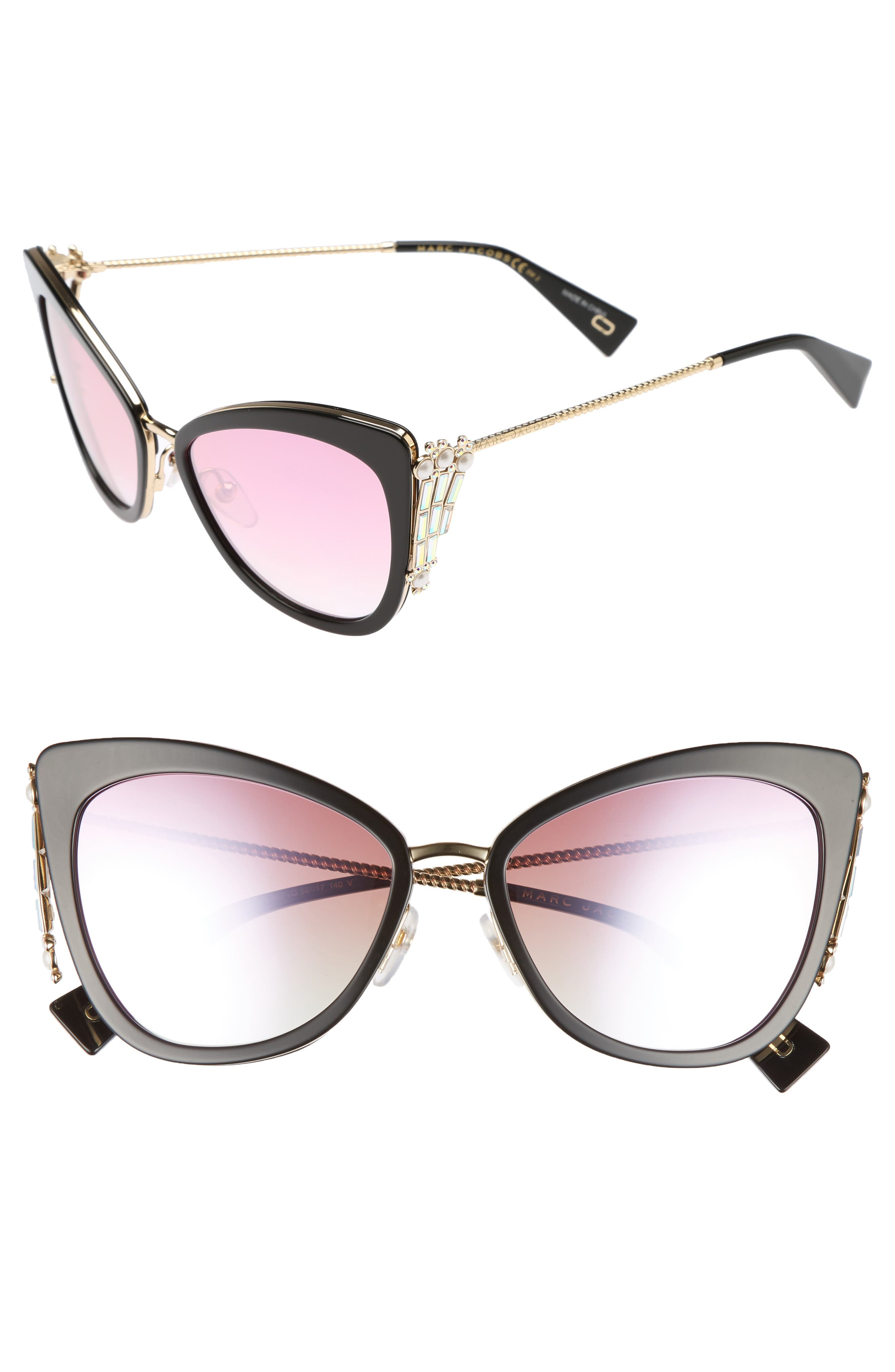 Embellished 56mm Cat Eye Sunglasses,                             Main thumbnail 1, color,                             400