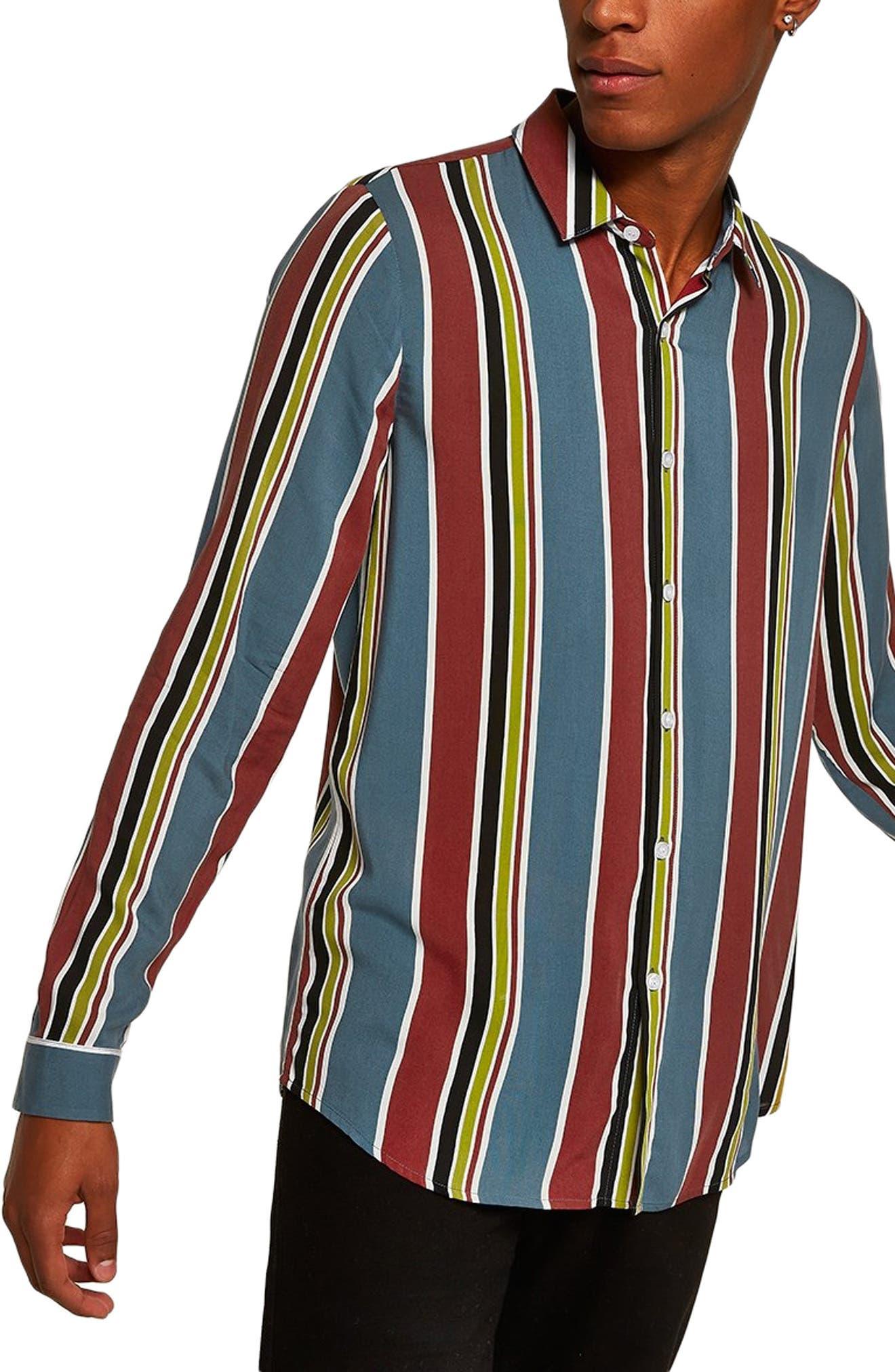 Stripe Classic Fit Sport Shirt,                             Main thumbnail 1, color,                             BLUE MULTI