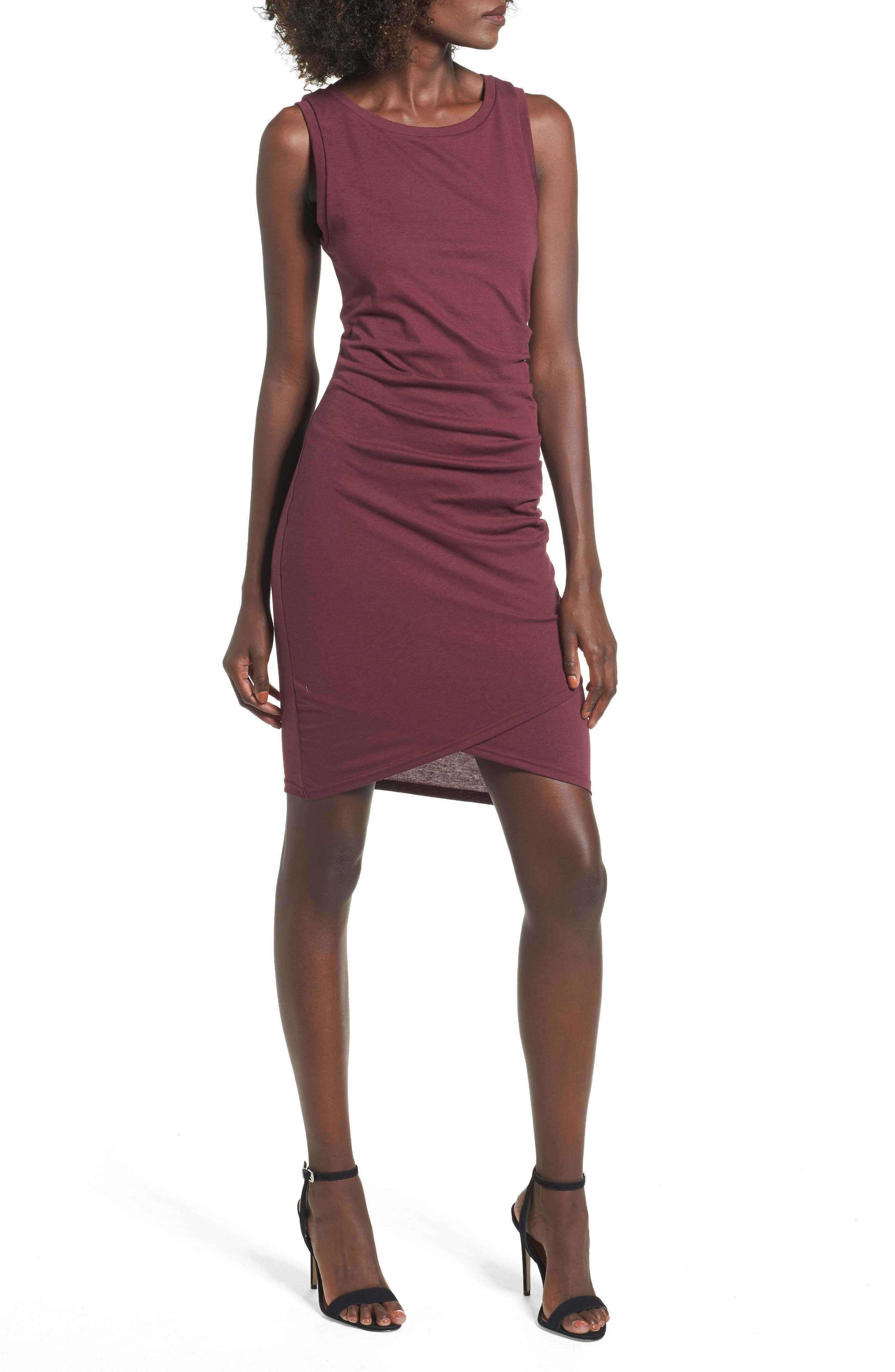 Leith Ruched Body-Con Tank Dress, Red