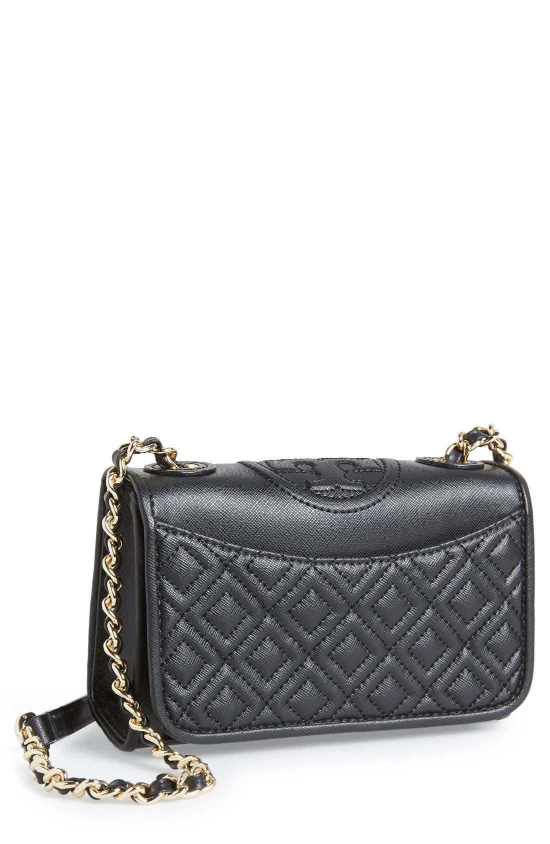 'Mini Fleming' Saffiano Leather Shoulder Bag,                             Main thumbnail 1, color,                             001