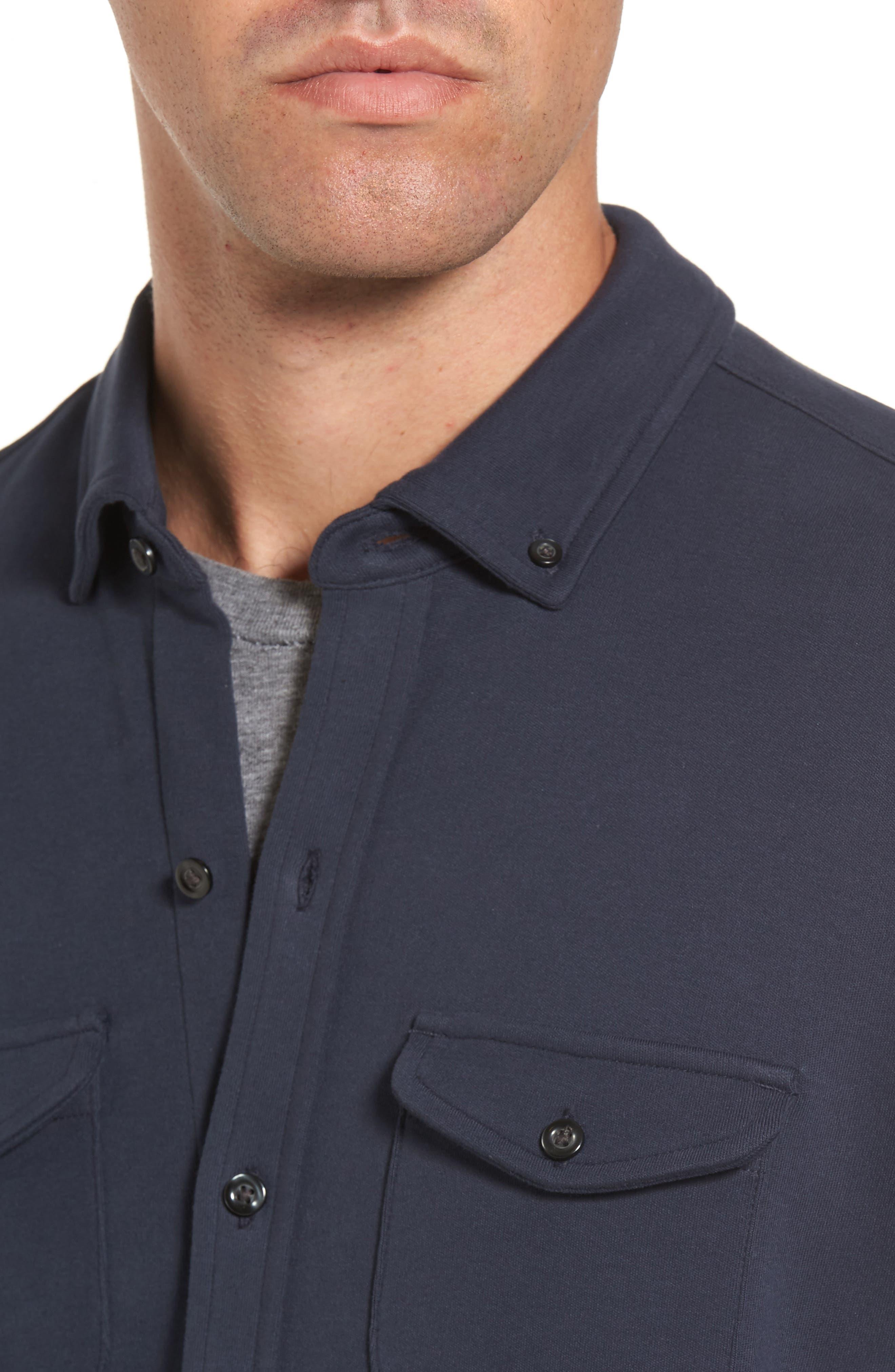 Trim Fit Pima Cotton Knit Sport Shirt,                             Alternate thumbnail 4, color,                             410