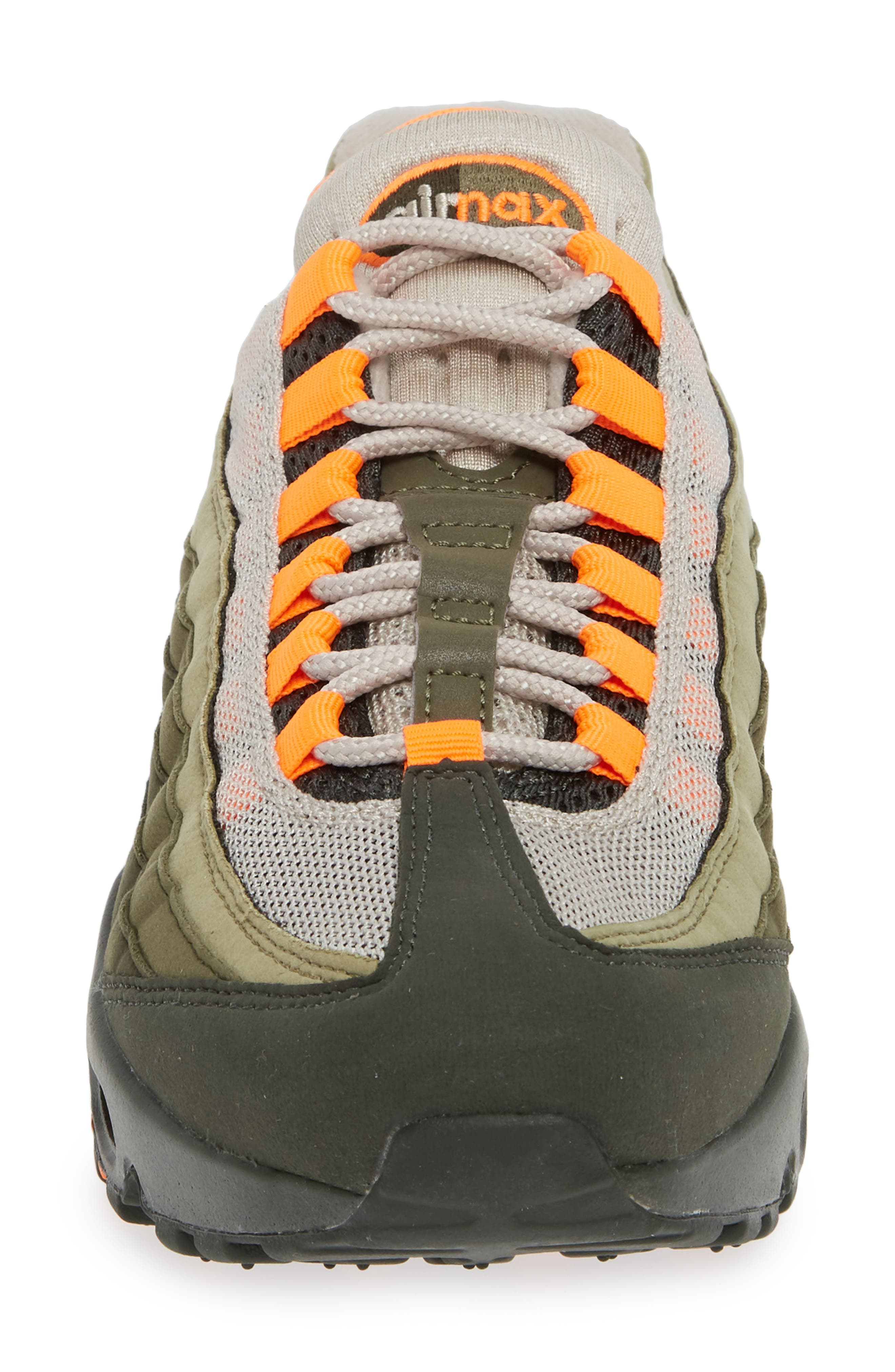 Air Max 95 OG Sneaker,                             Alternate thumbnail 4, color,                             STRING/ TOTAL ORANGE-NEUTRAL