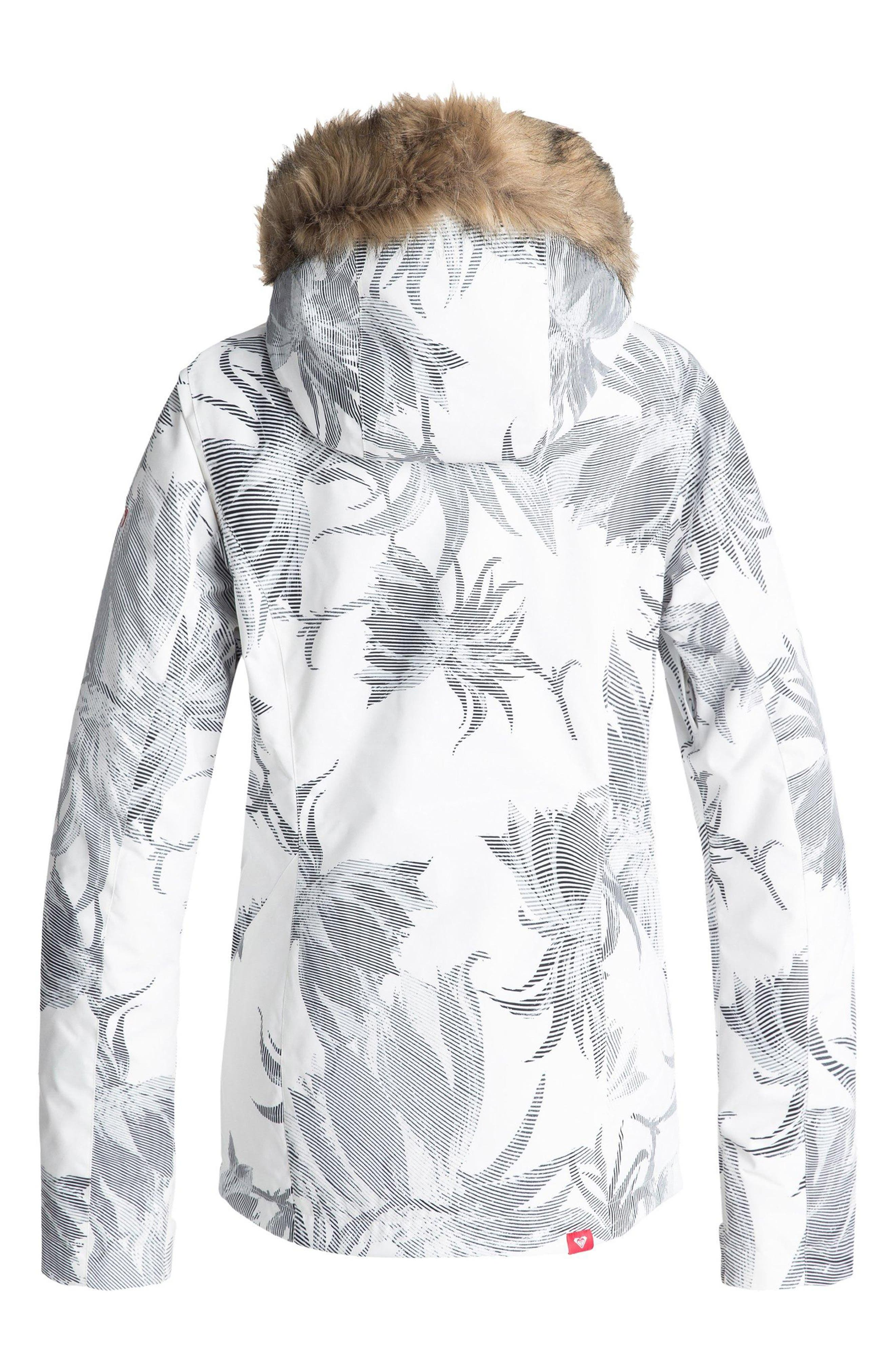 Jet Ski Slim Fit Waterproof WarmFlight<sup>®</sup> Insulated Snow Jacket with Faux Fur Trim,                             Alternate thumbnail 2, color,                             BRIGHT WHITE/ SWELL FLOWERS