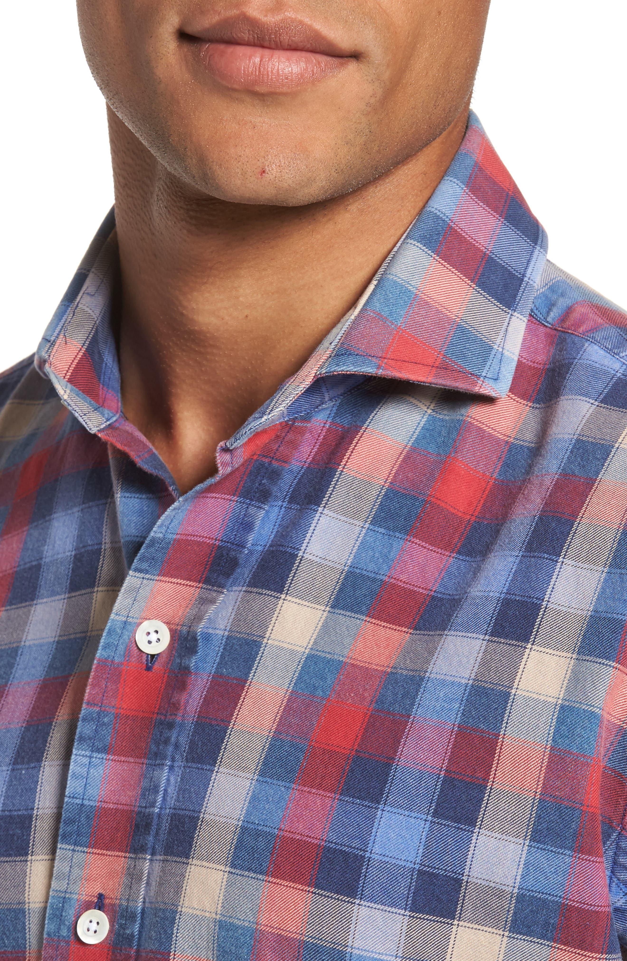Alden Slim Fit Check Sport Shirt,                             Alternate thumbnail 4, color,                             652