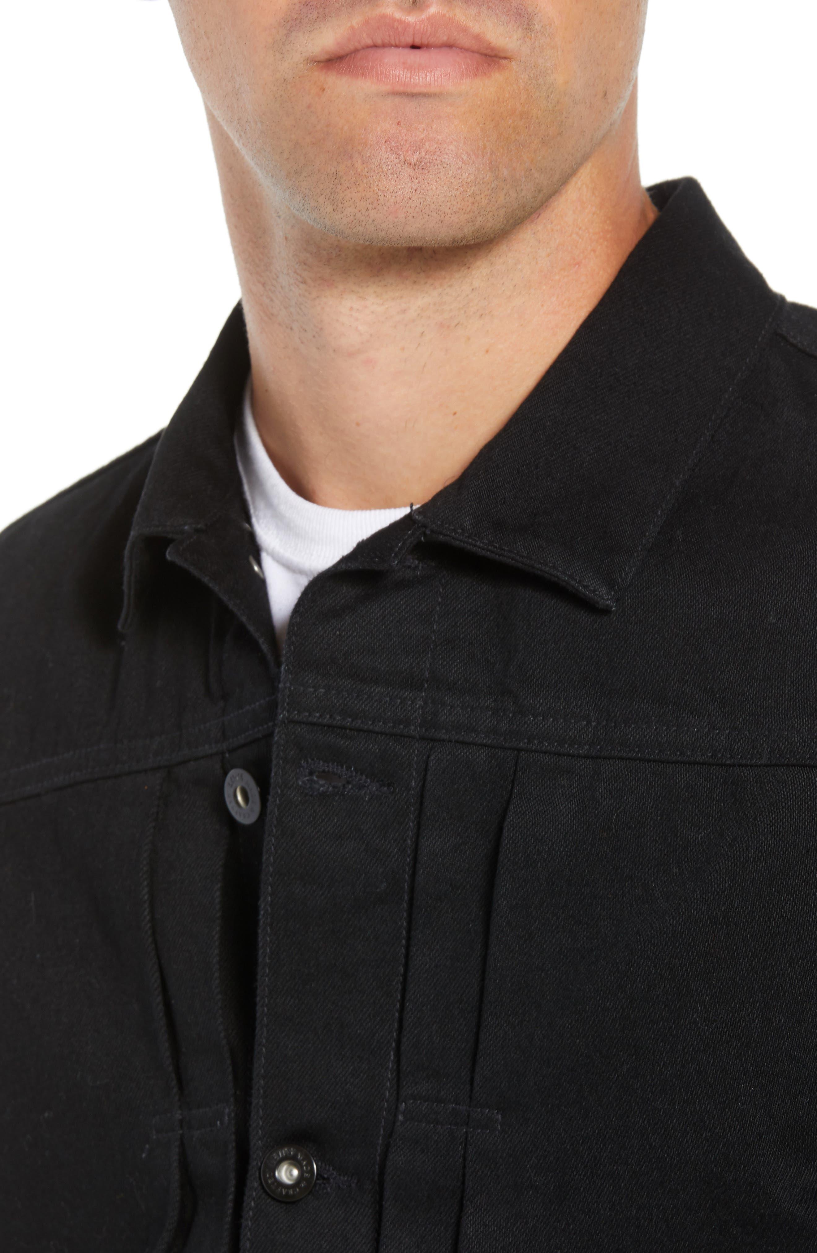 Type II<sup>™</sup> Worn Trucker Regular Fit Denim Jacket,                             Alternate thumbnail 4, color,                             NERO NERO