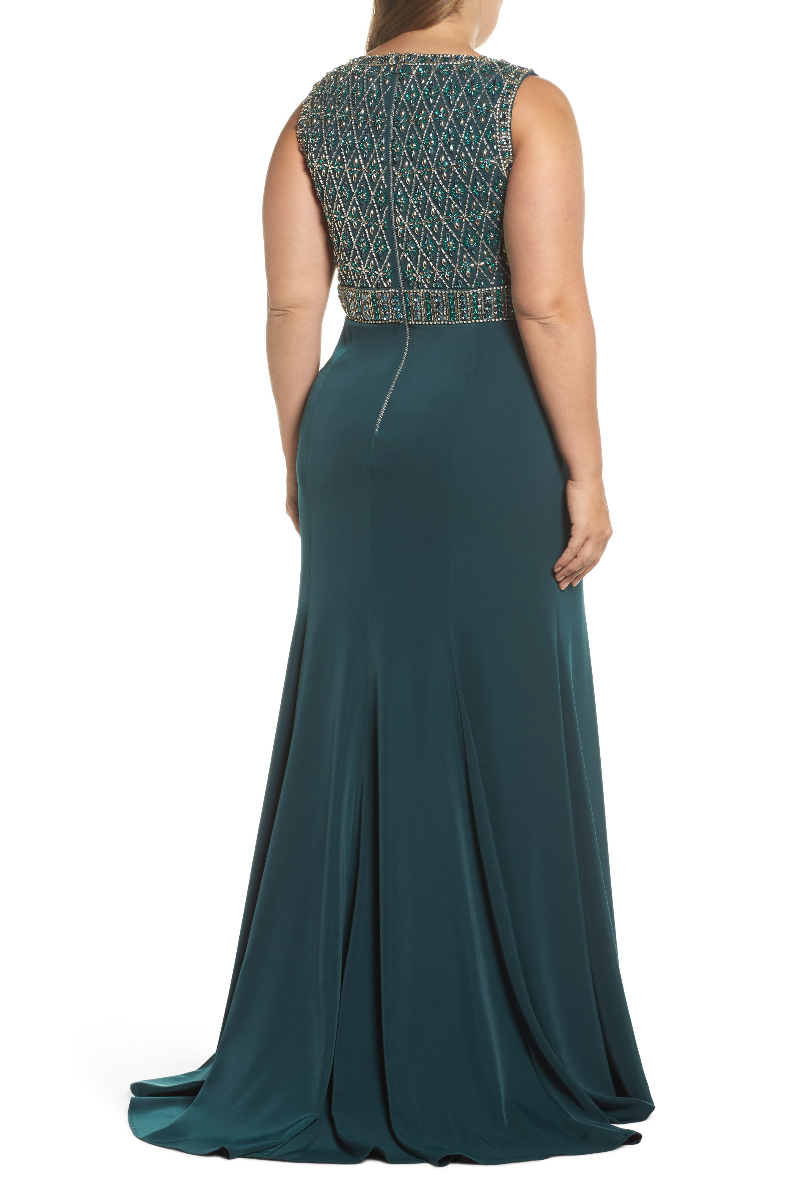 Crystal Embellished Ballgown,                             Alternate thumbnail 2, color,                             DEEP EMERALD