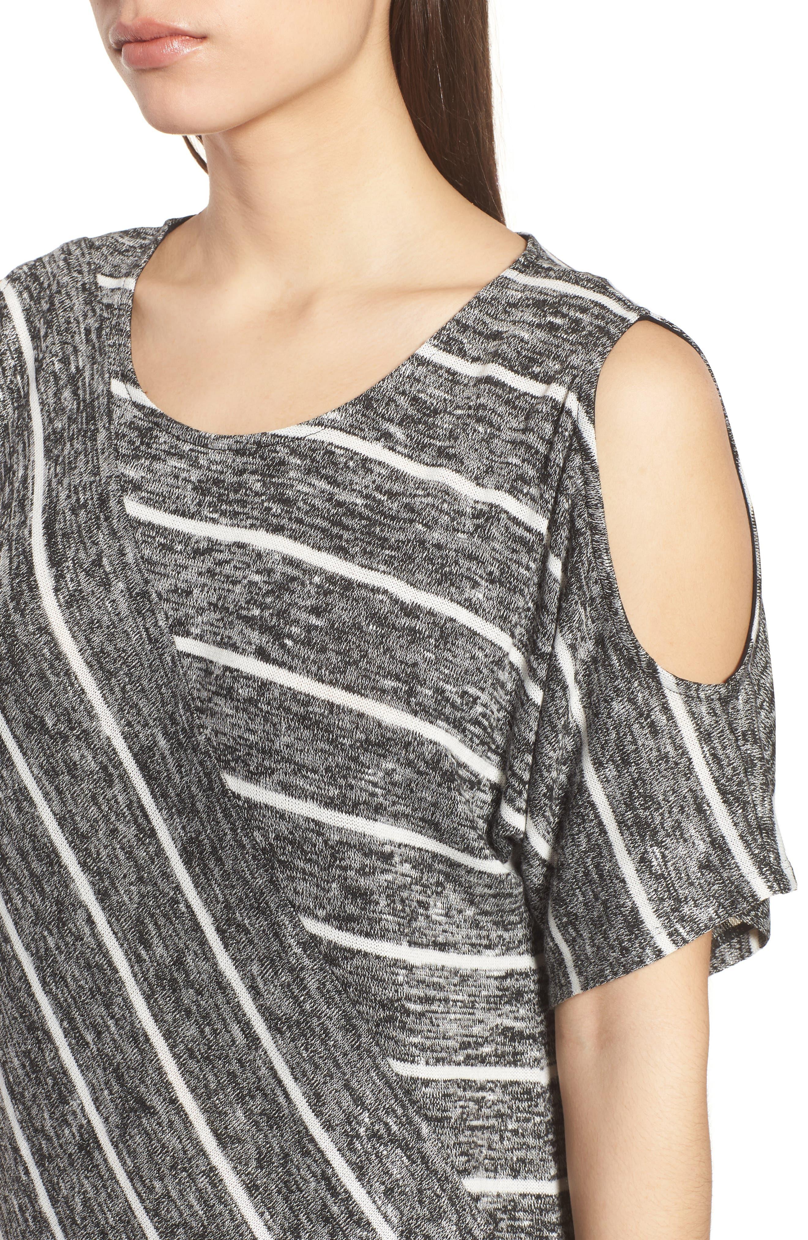 Cold Shoulder Marled Stripe Top,                             Alternate thumbnail 4, color,                             001