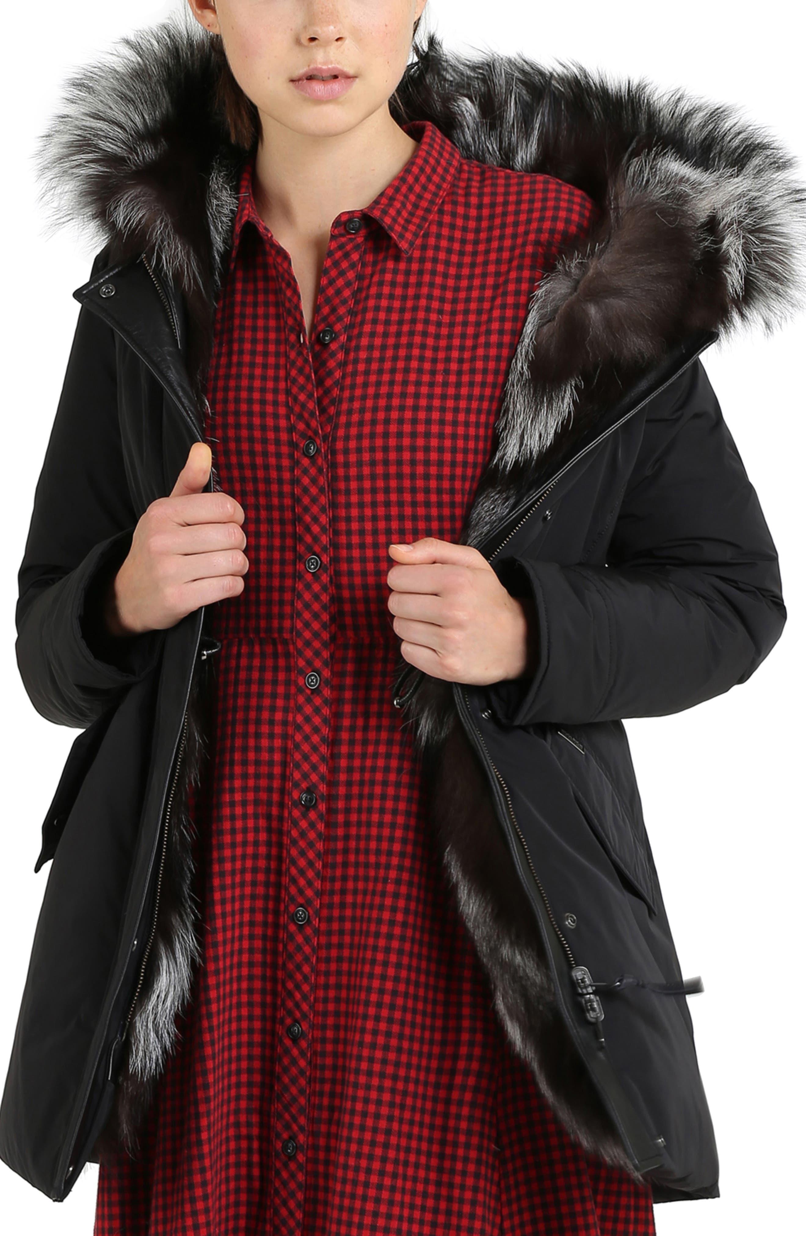 Somerset Reversible Hooded Down & Genuine Fox Fur Parka,                         Main,                         color, BLACK