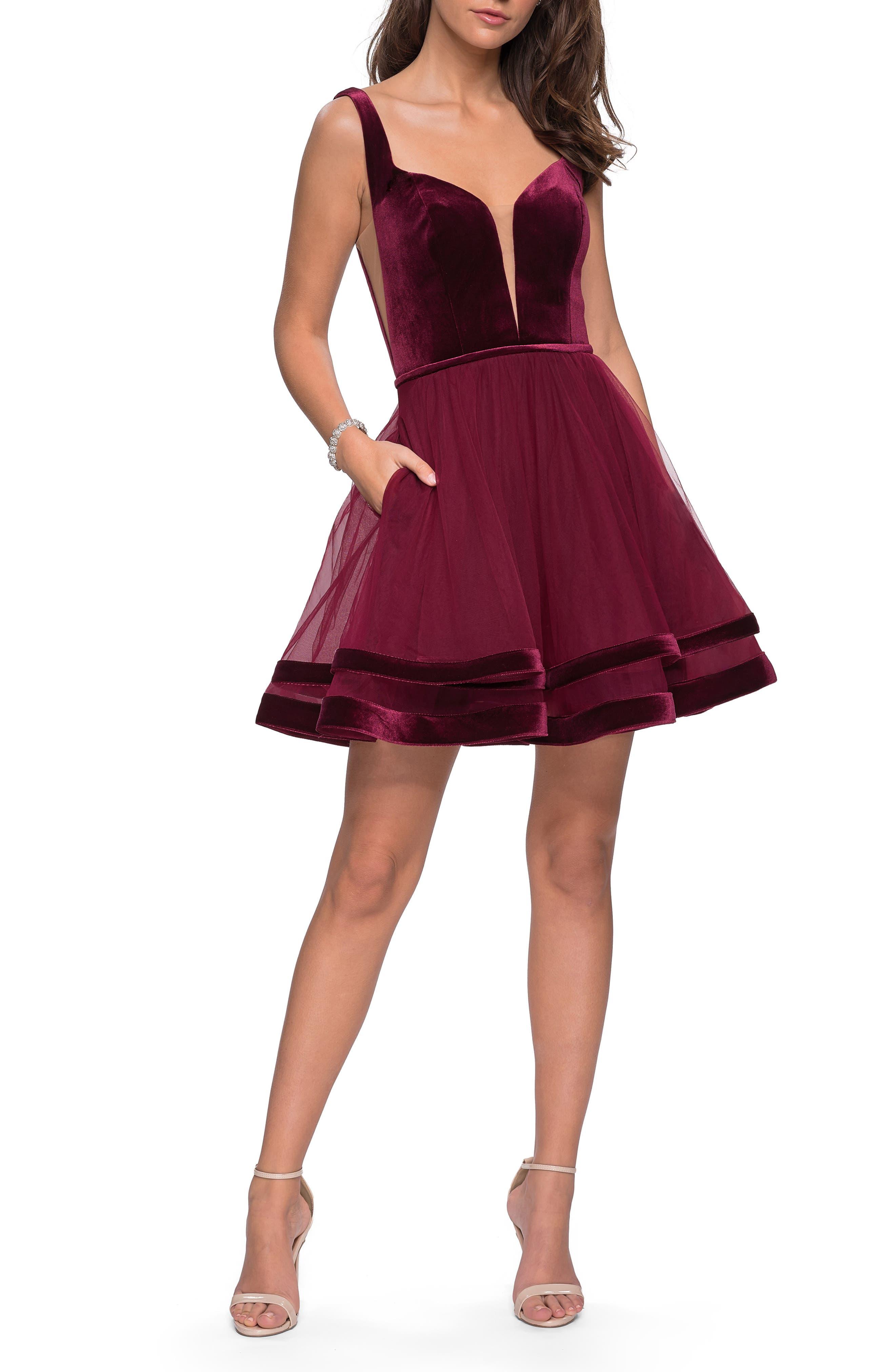 LA FEMME Velvet & Tulle Party Dress in Wine