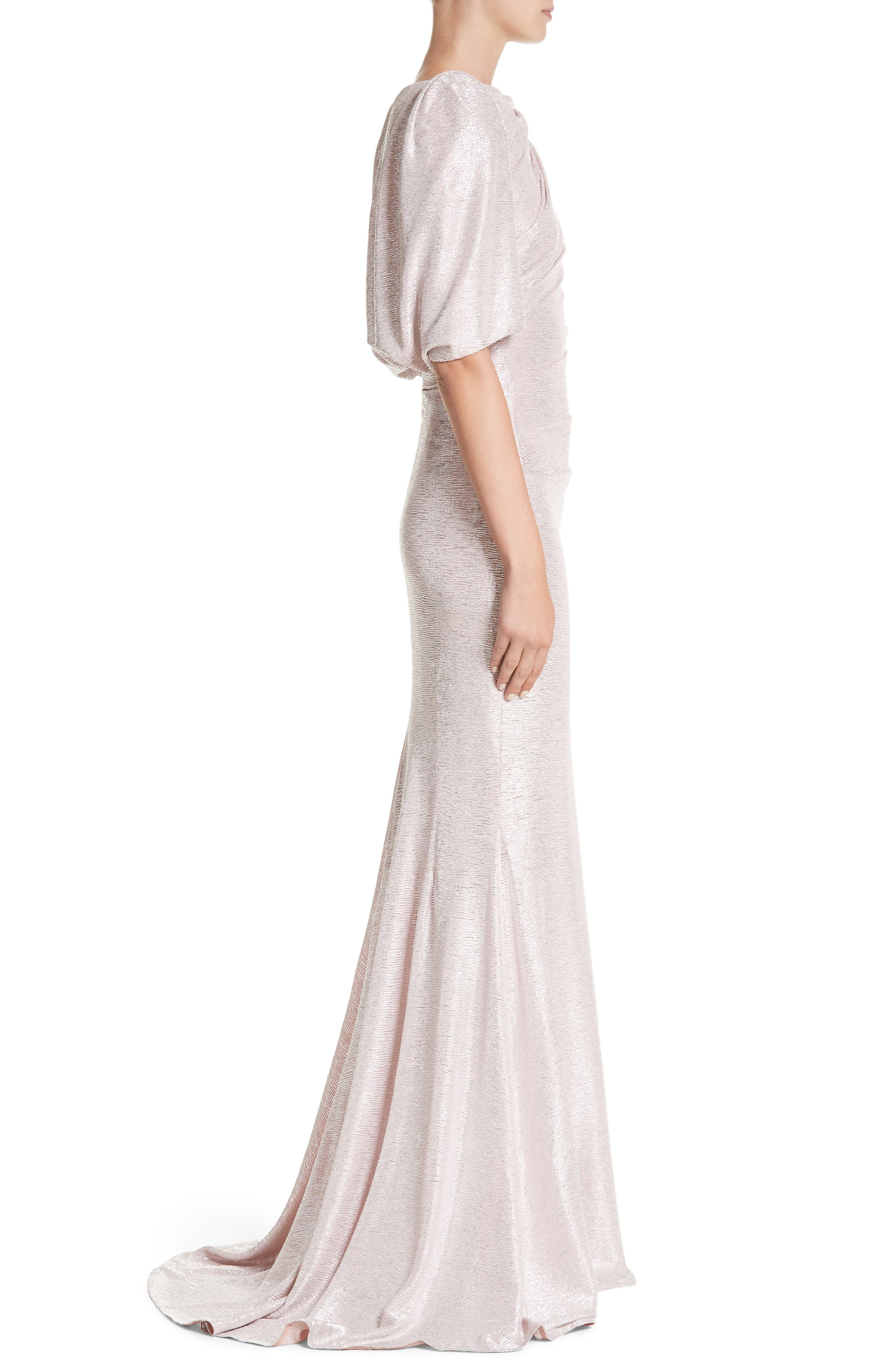 Metallic Cloqué Mermaid Gown,                             Alternate thumbnail 3, color,                             BLUSH