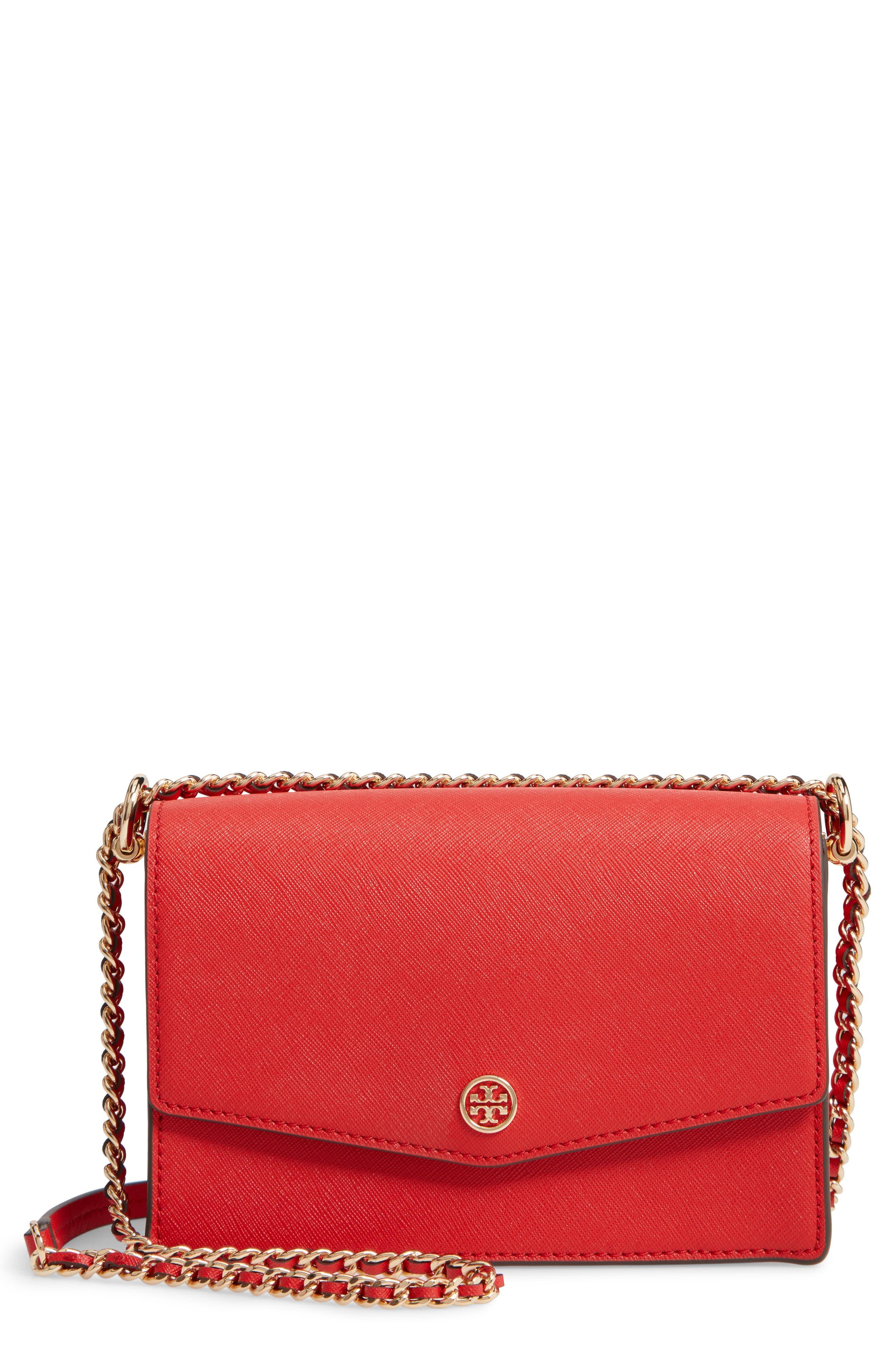 Mini Robinson Convertible Leather Shoulder Bag,                         Main,                         color, BRILLIANT RED
