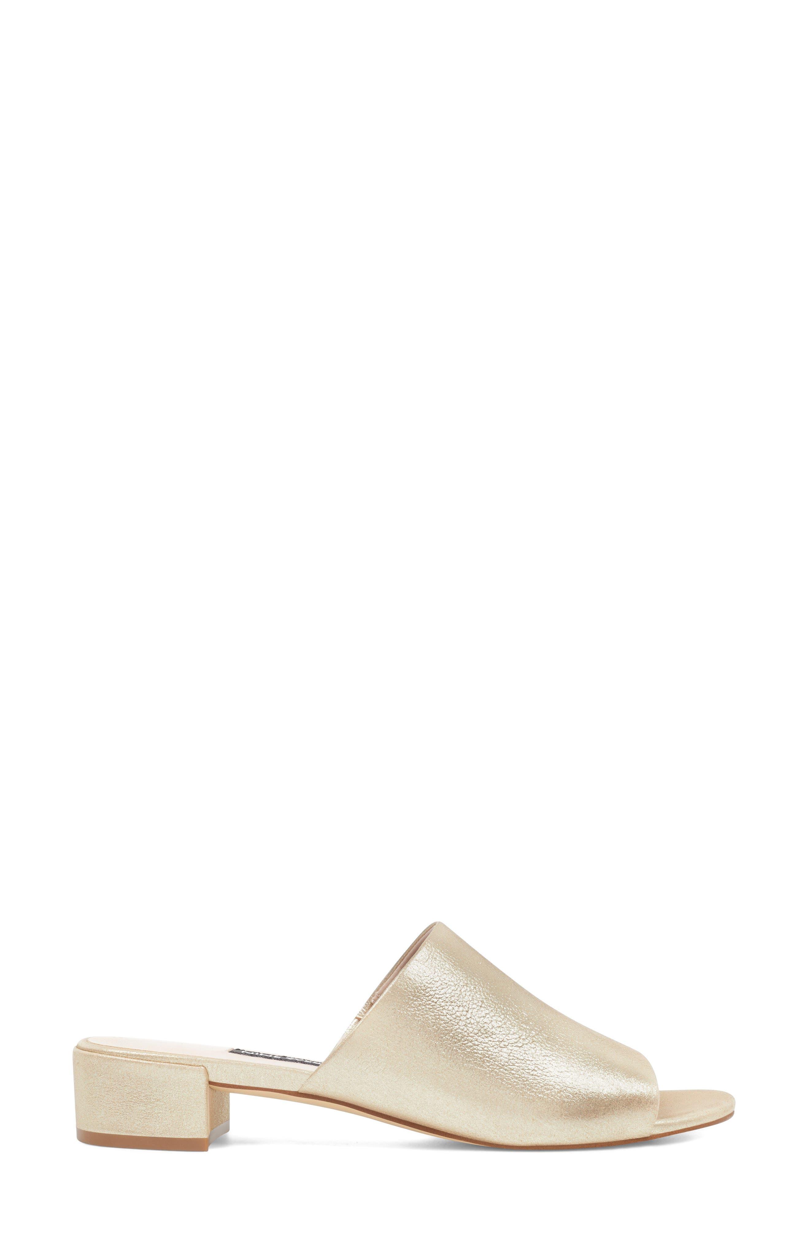Raissa Slide Sandal,                             Alternate thumbnail 3, color,                             LIGHT GOLD LEATHER