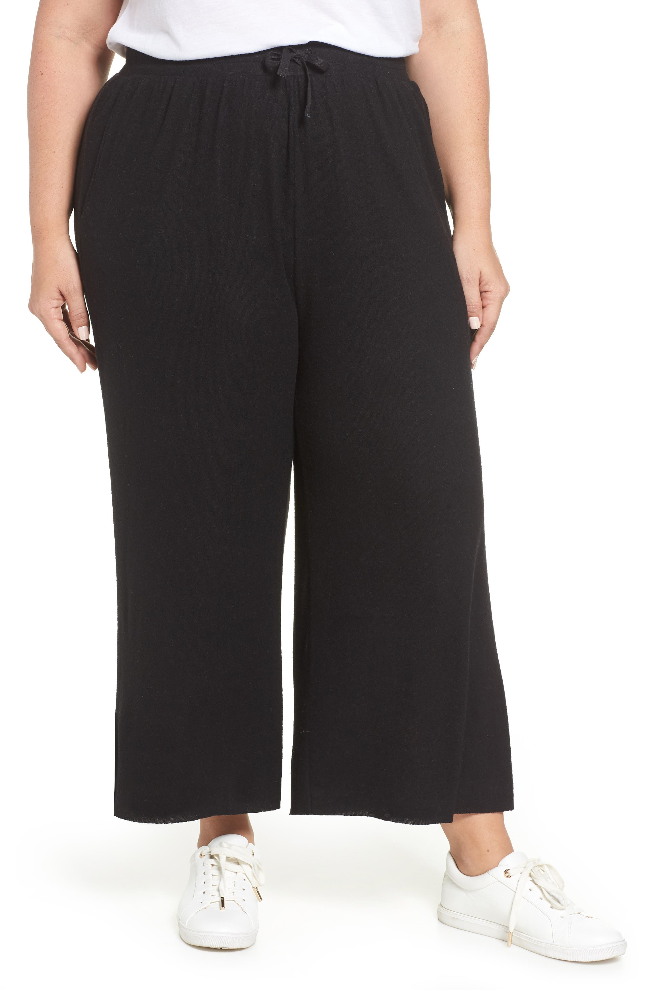 High Rise Wide Leg Knit Crop Pants,                             Main thumbnail 1, color,                             BLACK