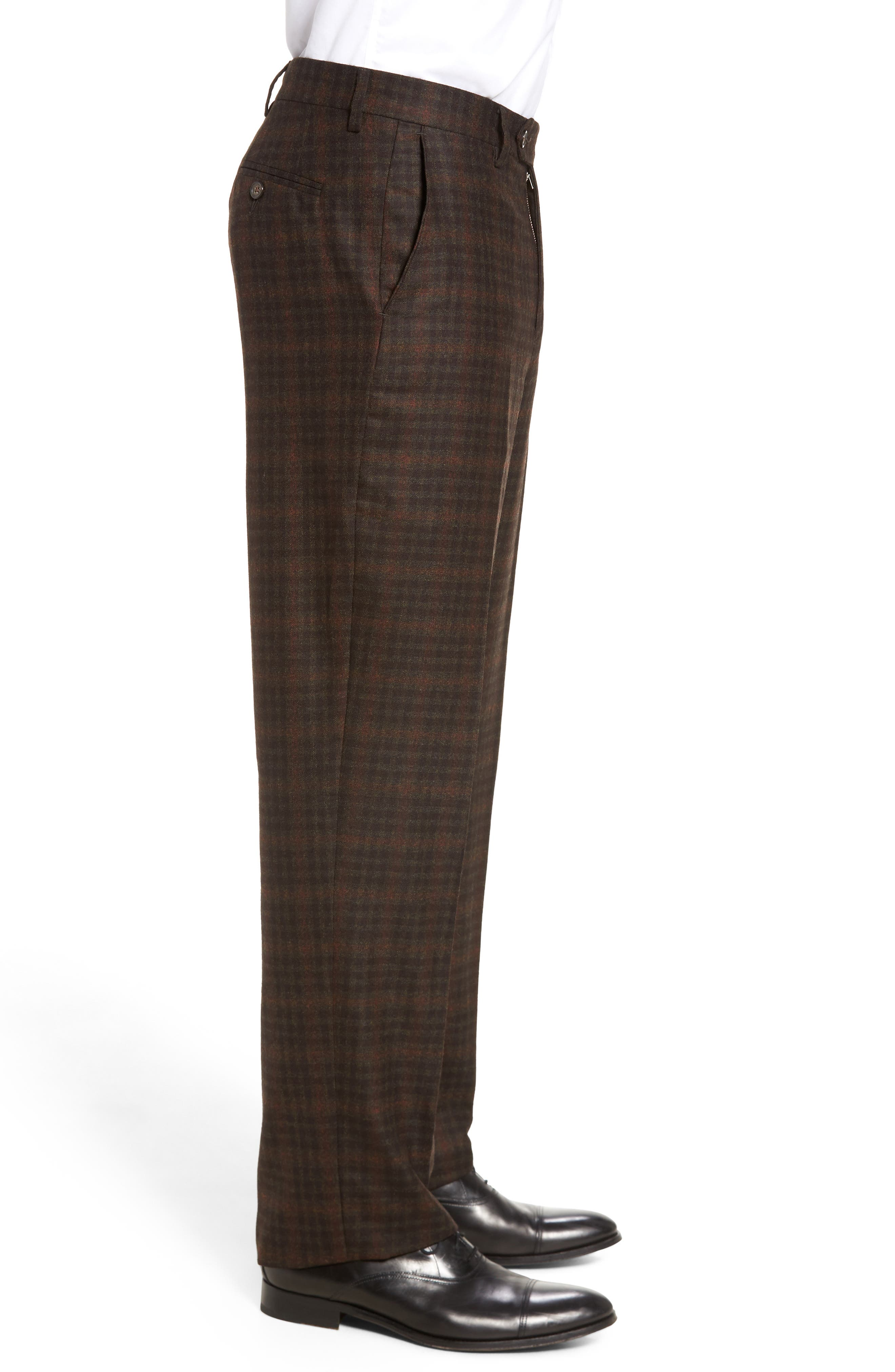 Flat Front Plaid Wool Trousers,                             Alternate thumbnail 4, color,                             200