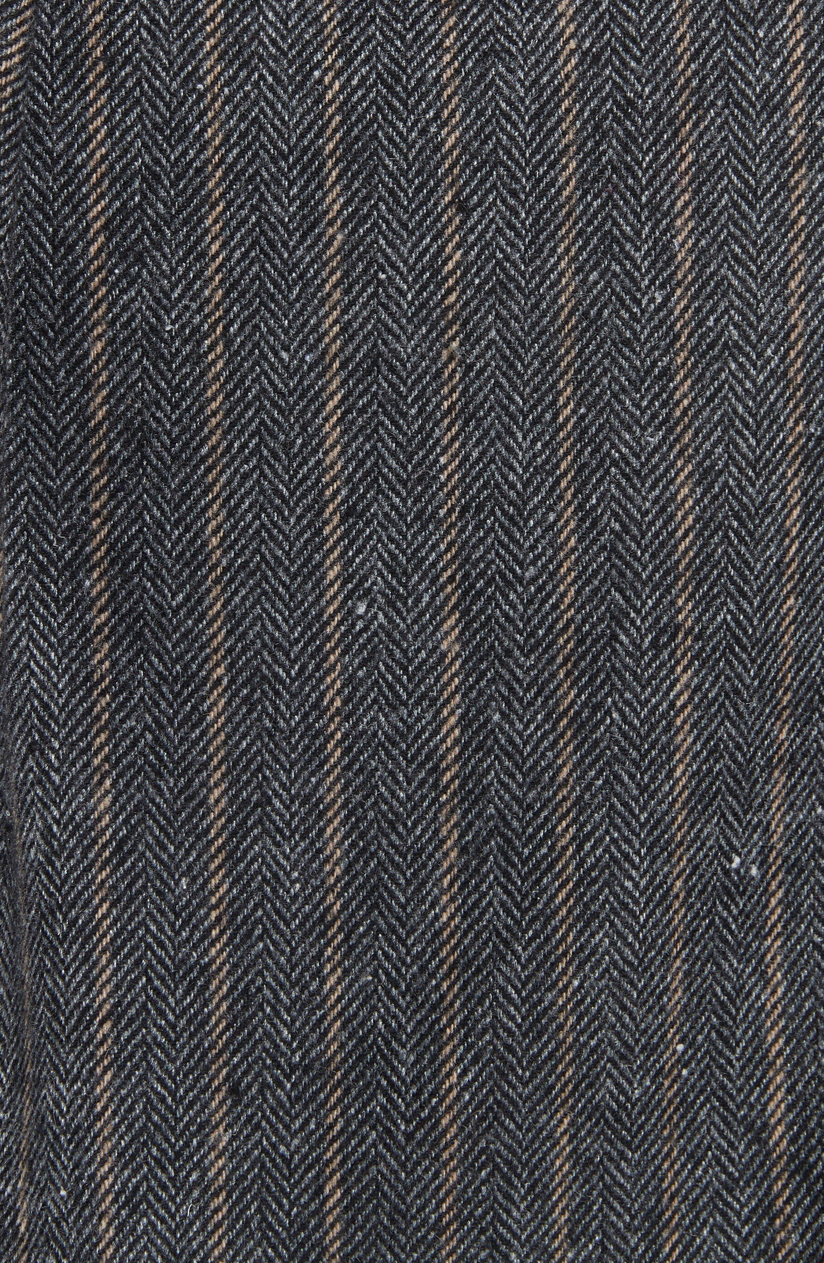 Leo Paperbag Waist Wool & Silk Blend Skirt,                             Alternate thumbnail 5, color,                             ASH