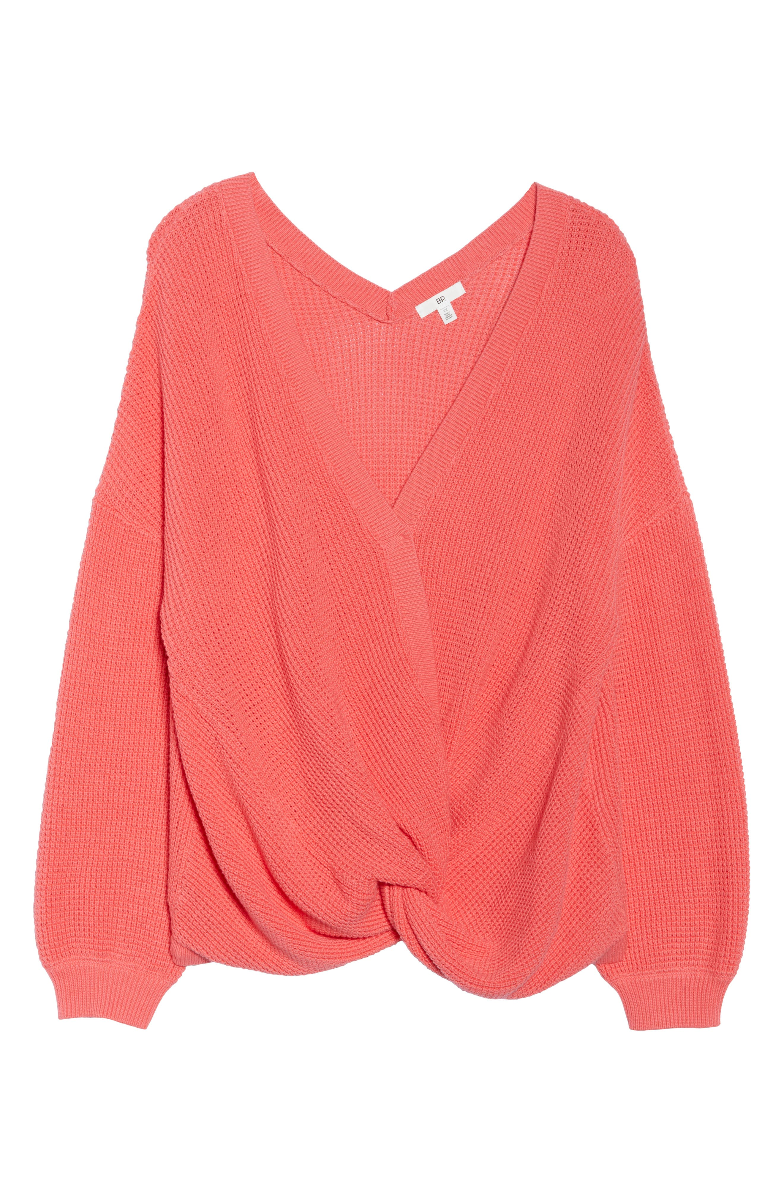 Twist Front Sweater,                             Alternate thumbnail 11, color,                             CORAL SUNKIST
