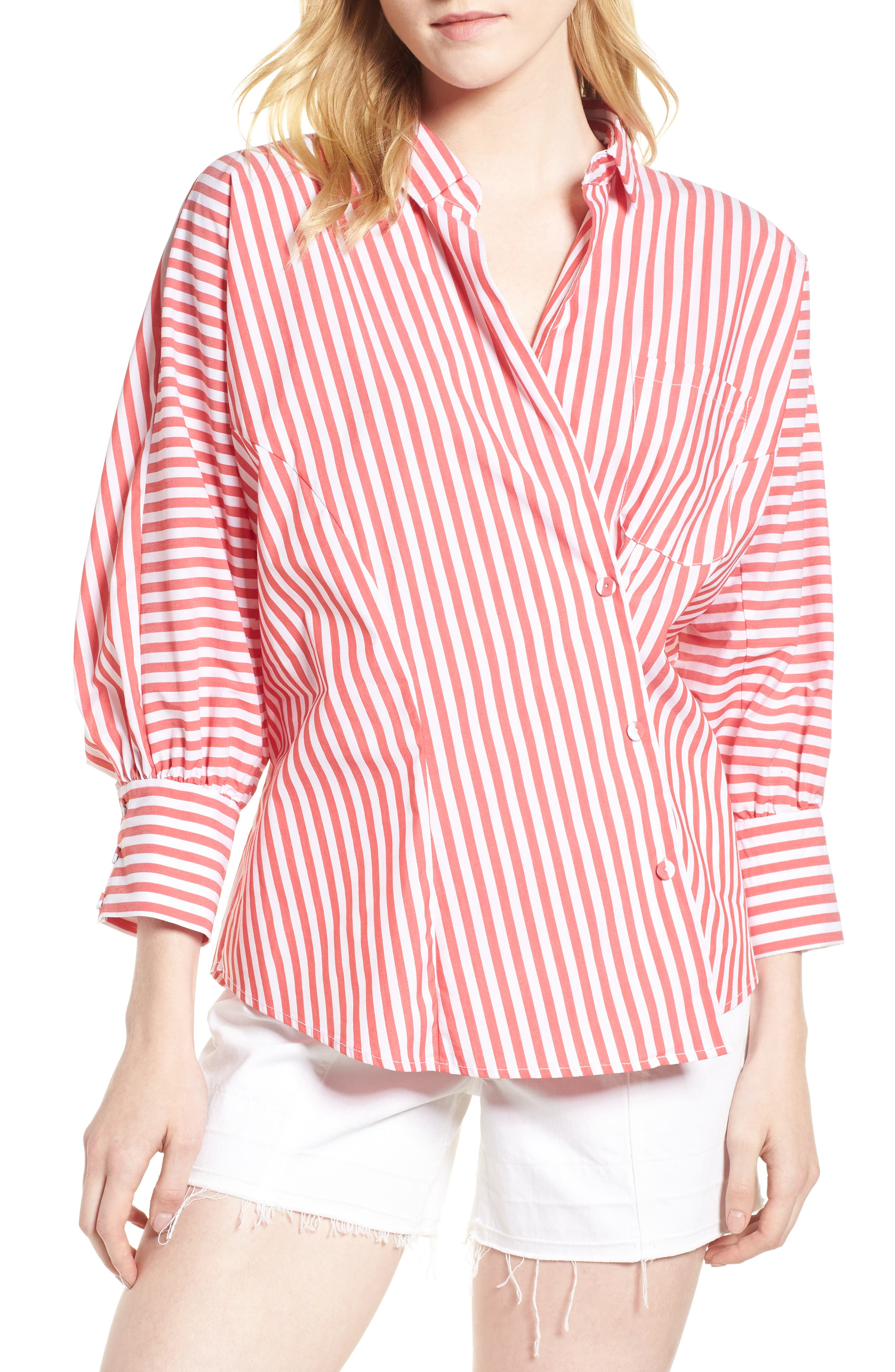 Asymmetrical Stripe Blouse,                             Main thumbnail 1, color,                             RED/ WHITE STRIPE